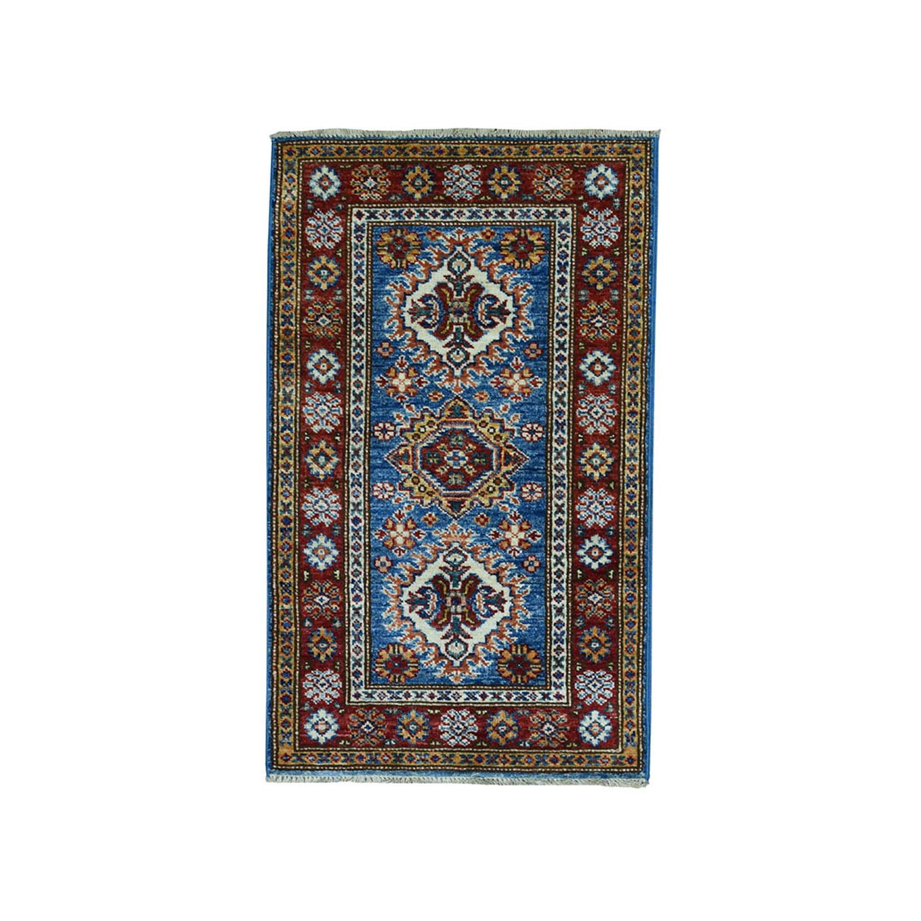 "1.9""X3'2"" Blue Super Kazak Pure Wool Geometric Design Hand-Knotted Oriental Rug moae09a6"