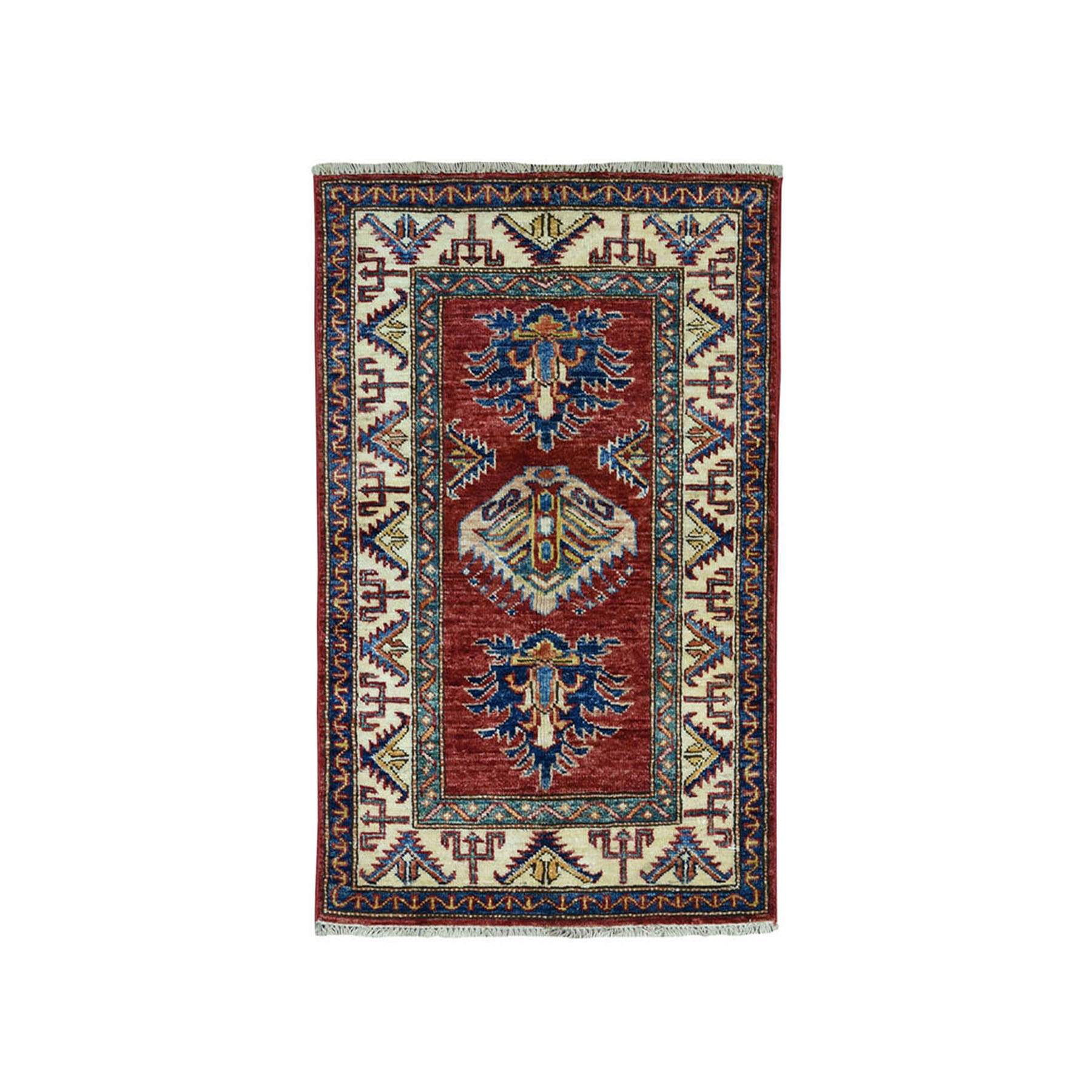 "2'X3'2"" Red Super Kazak Pure Wool Geometric Design Hand-Knotted Oriental Rug moae09a7"