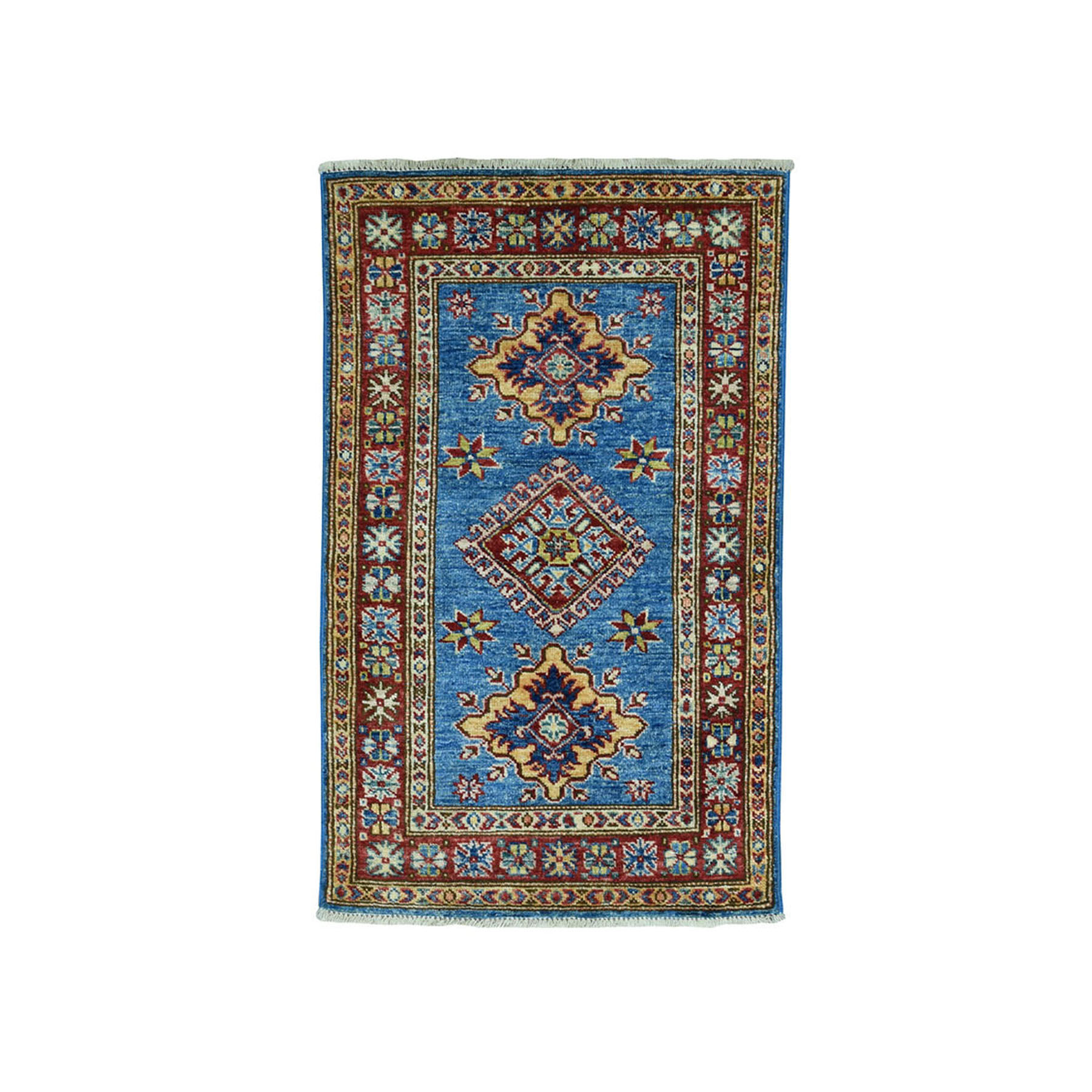 "2'X3'4"" Blue Super Kazak Pure Wool Geometric Design Hand-Knotted Oriental Rug moae09a9"