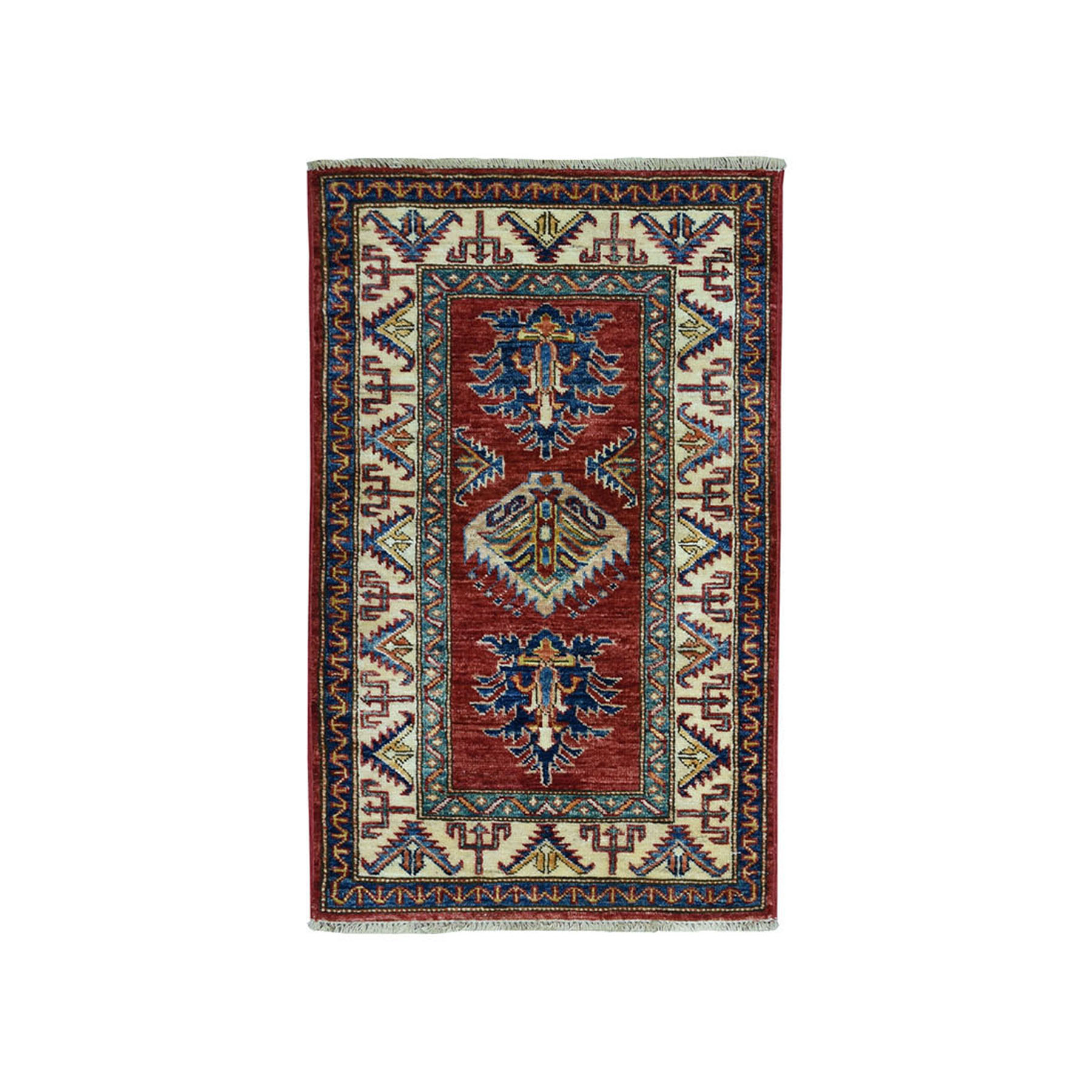 "2'X3'2"" Red Super Kazak Pure Wool Geometric Design Hand-Knotted Oriental Rug moae09b0"