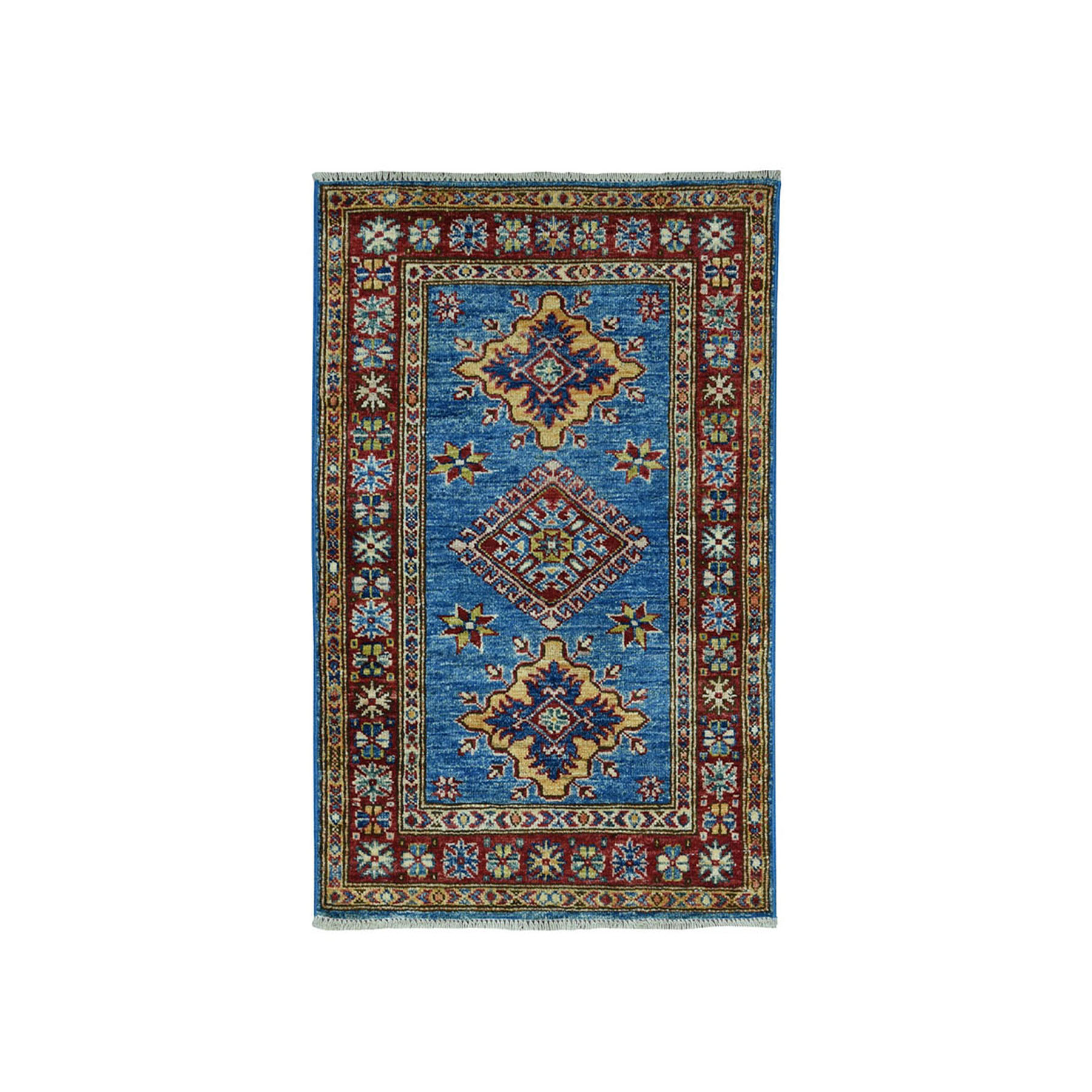 "2'1""X3'4"" Blue Super Kazak Pure Wool Geometric Design Hand-Knotted Oriental Rug moae09ba"