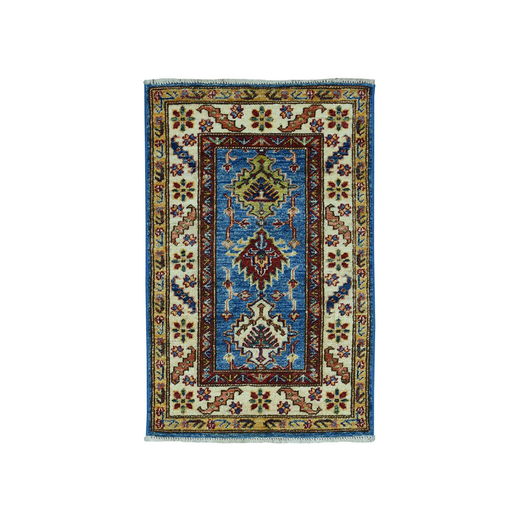 2'X3' Blue Super Kazak Pure Wool Geometric Design Hand-Knotted Oriental Rug moae09bb