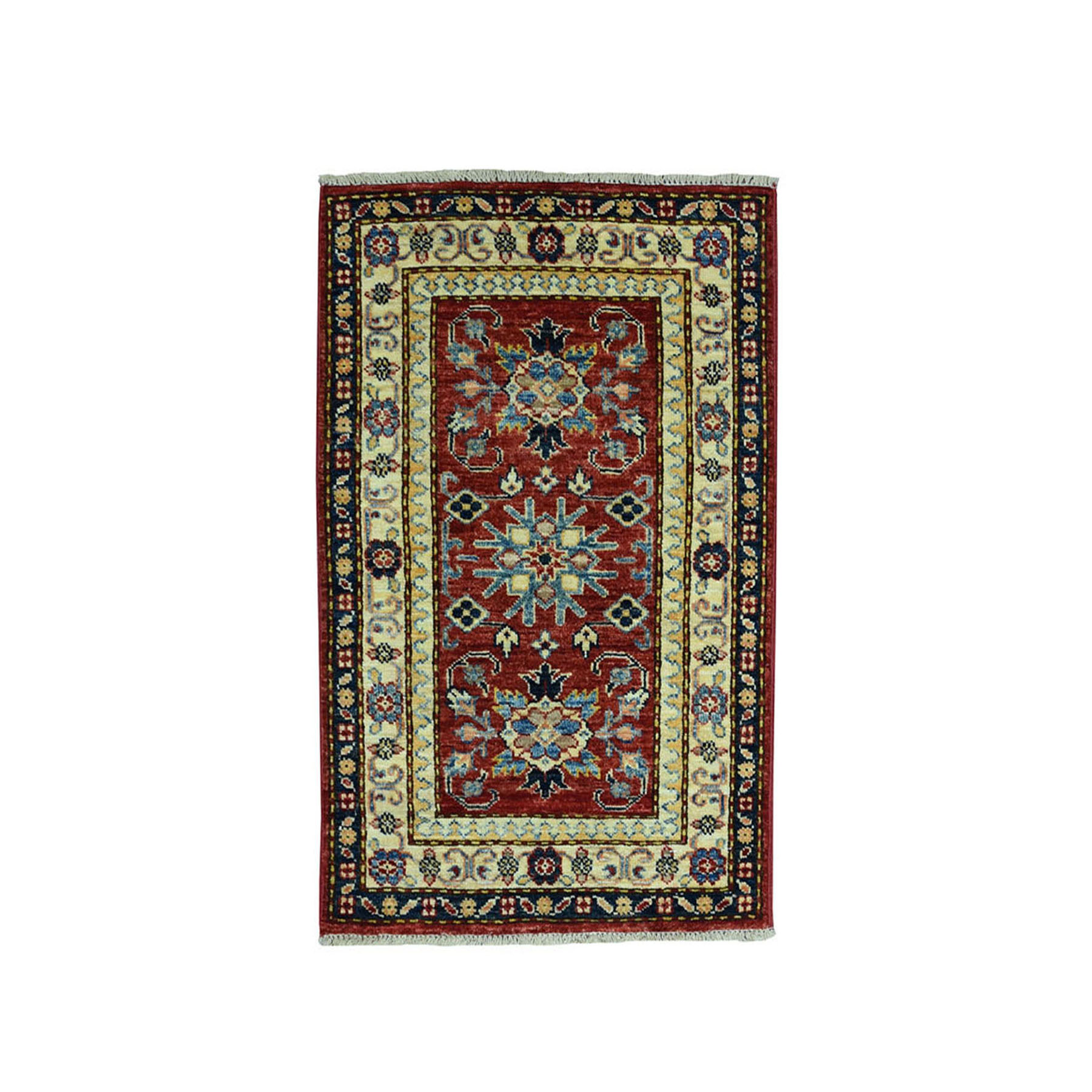 2'X3' Red Super Kazak Pure Wool Geometric Design Hand-Knotted Oriental Rug moae09bc