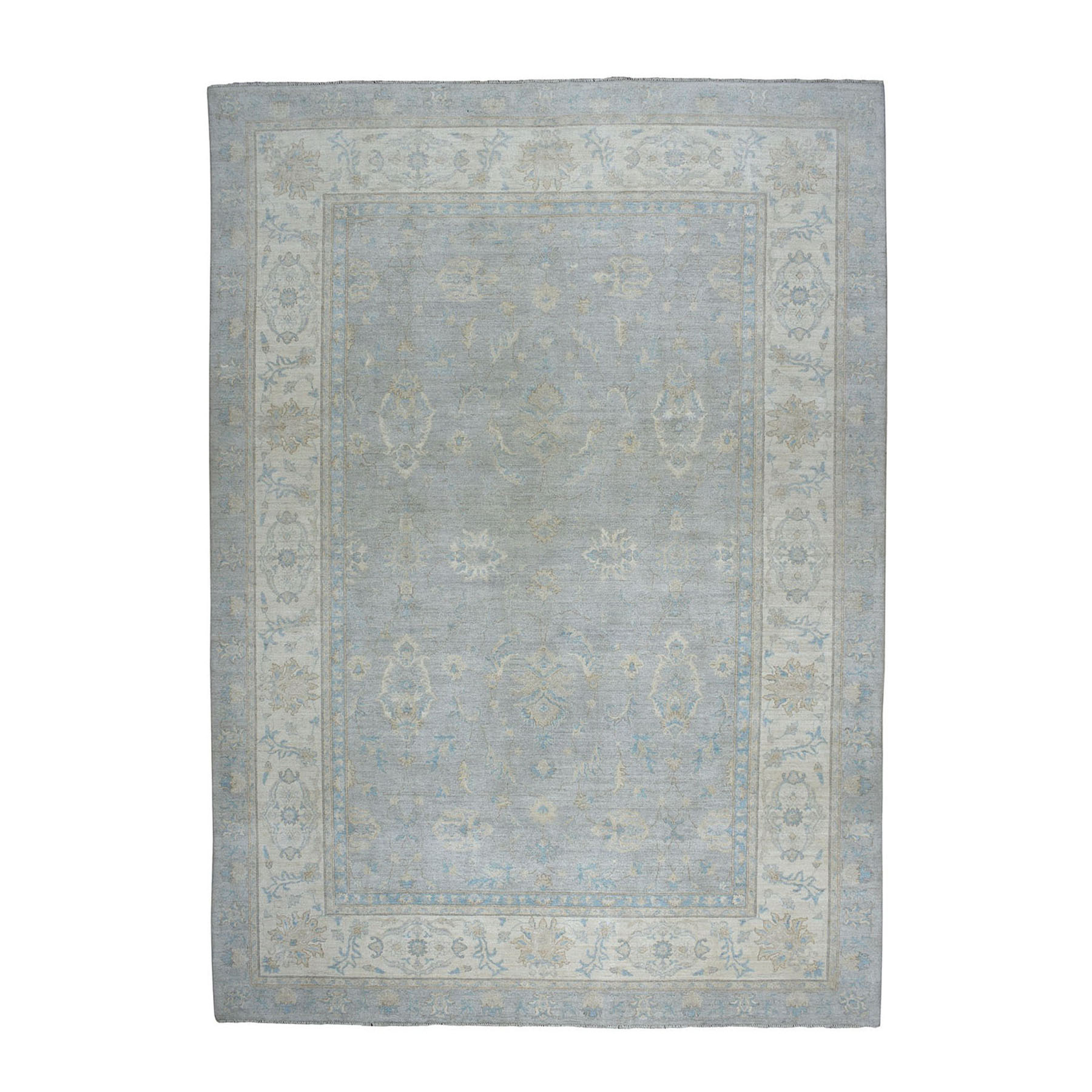 10'X14' White Wash Peshawar Pure Wool Hand-Knotted Oriental Rug moae09b7