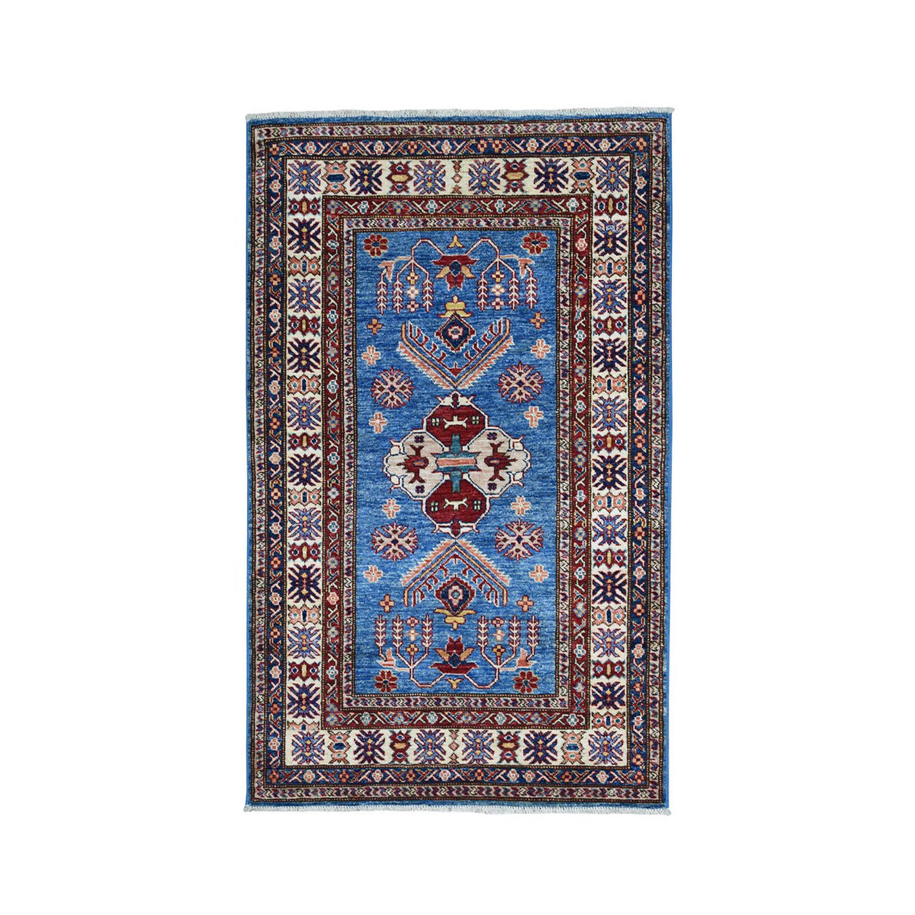 "3'3""X4'10"" Blue Super Kazak Pure Wool Geometric Design Hand-Knotted Oriental Rug moae09cc"