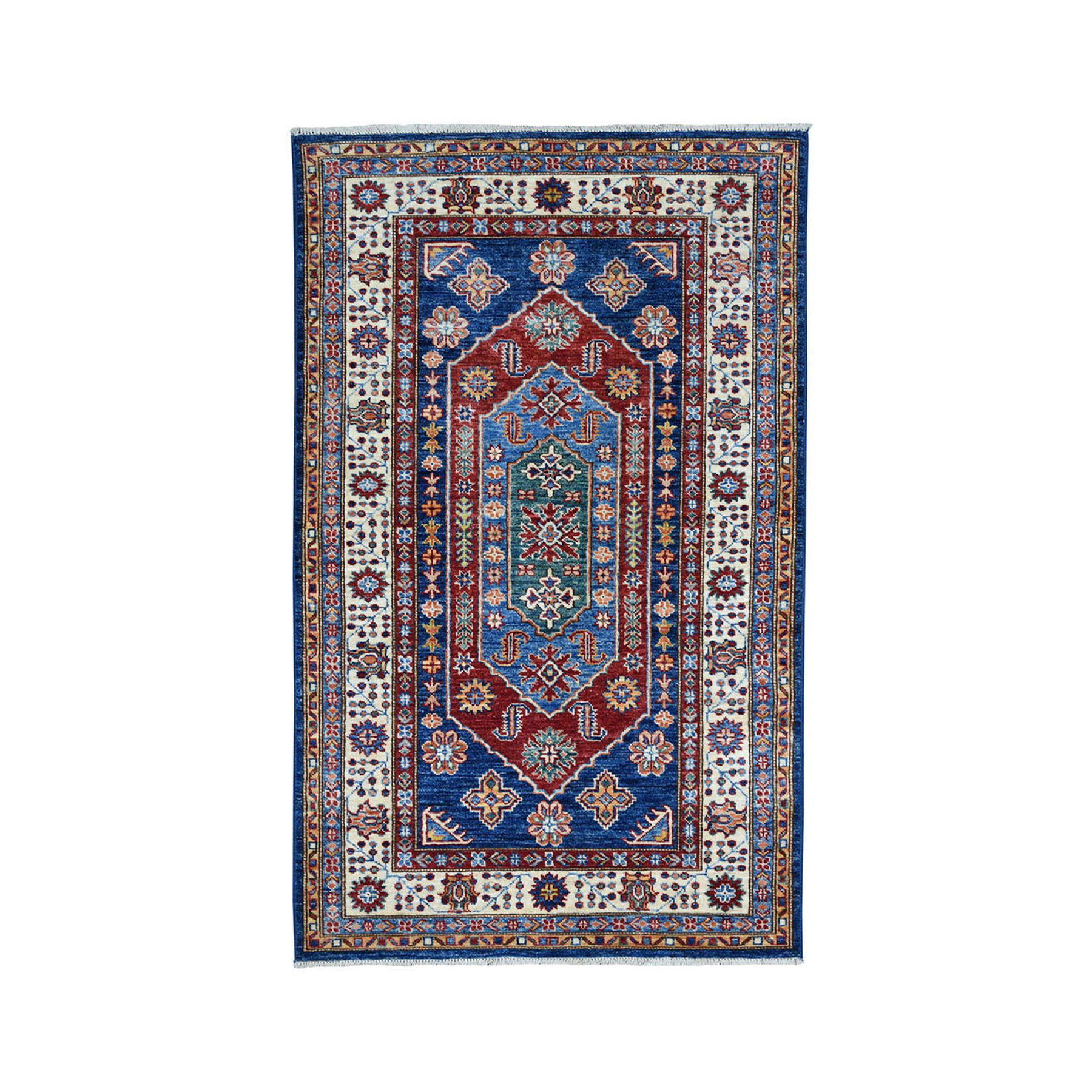 "3'3""X5'2"" Blue Super Kazak Pure Wool Geometric Design Hand-Knotted Oriental Rug moae09cd"