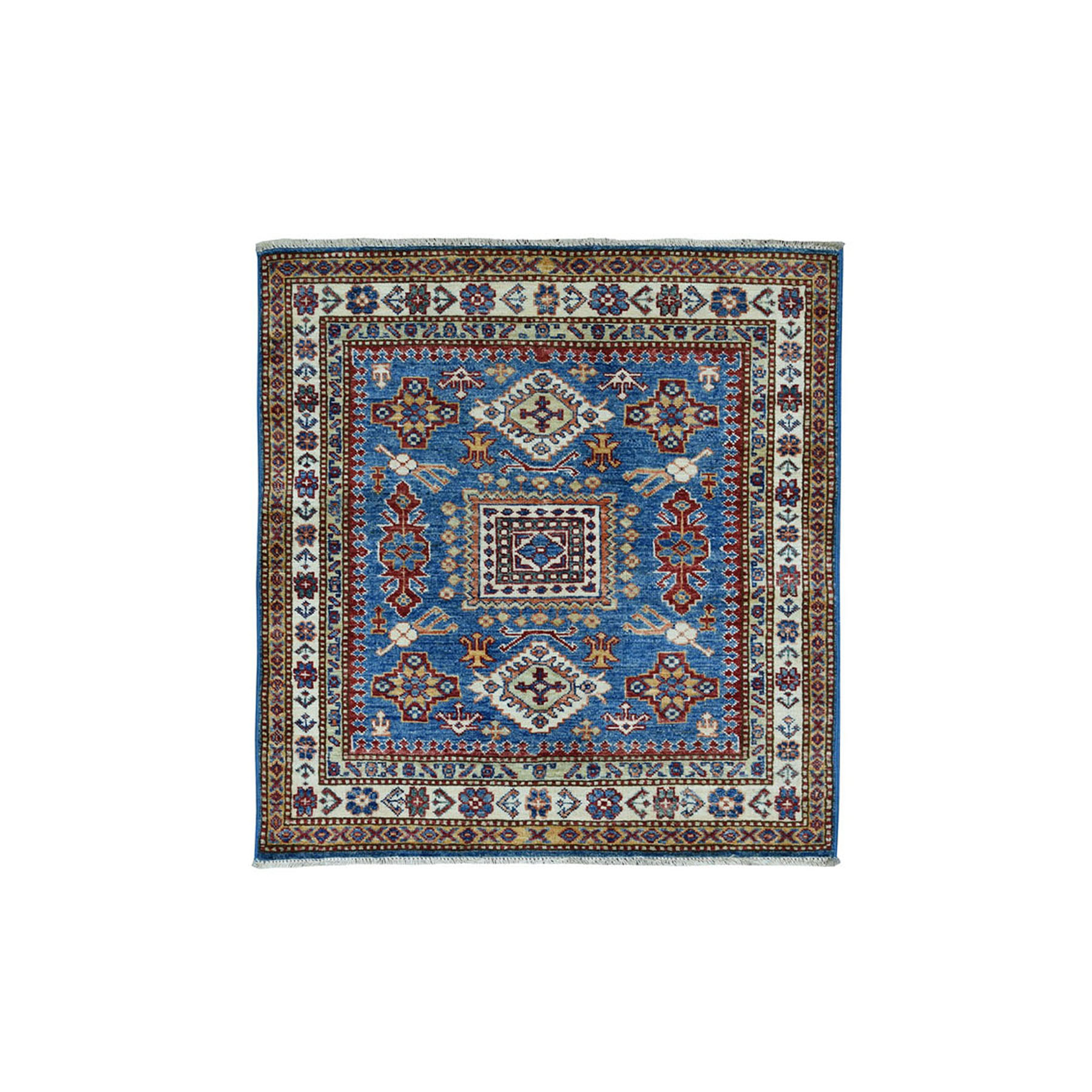 "3'3""X3'3"" Square Blue Super Kazak Pure Wool Geometric Design Hand-Knotted Oriental Rug moae09c7"