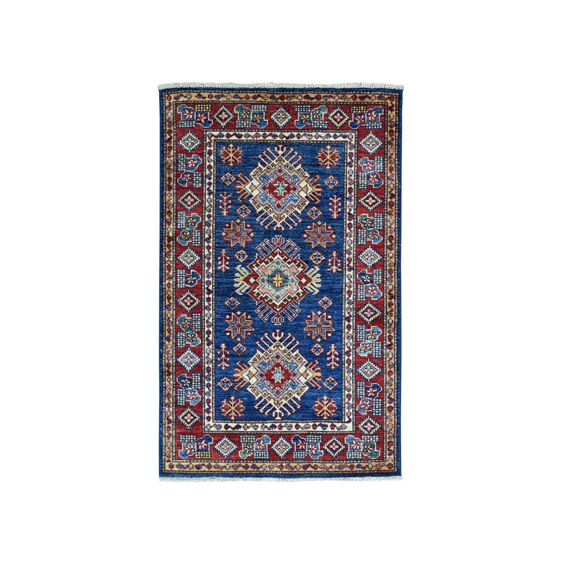 3'X4' Blue Super Kazak Pure Wool Geometric Design Hand-Knotted Oriental Rug moae09c8