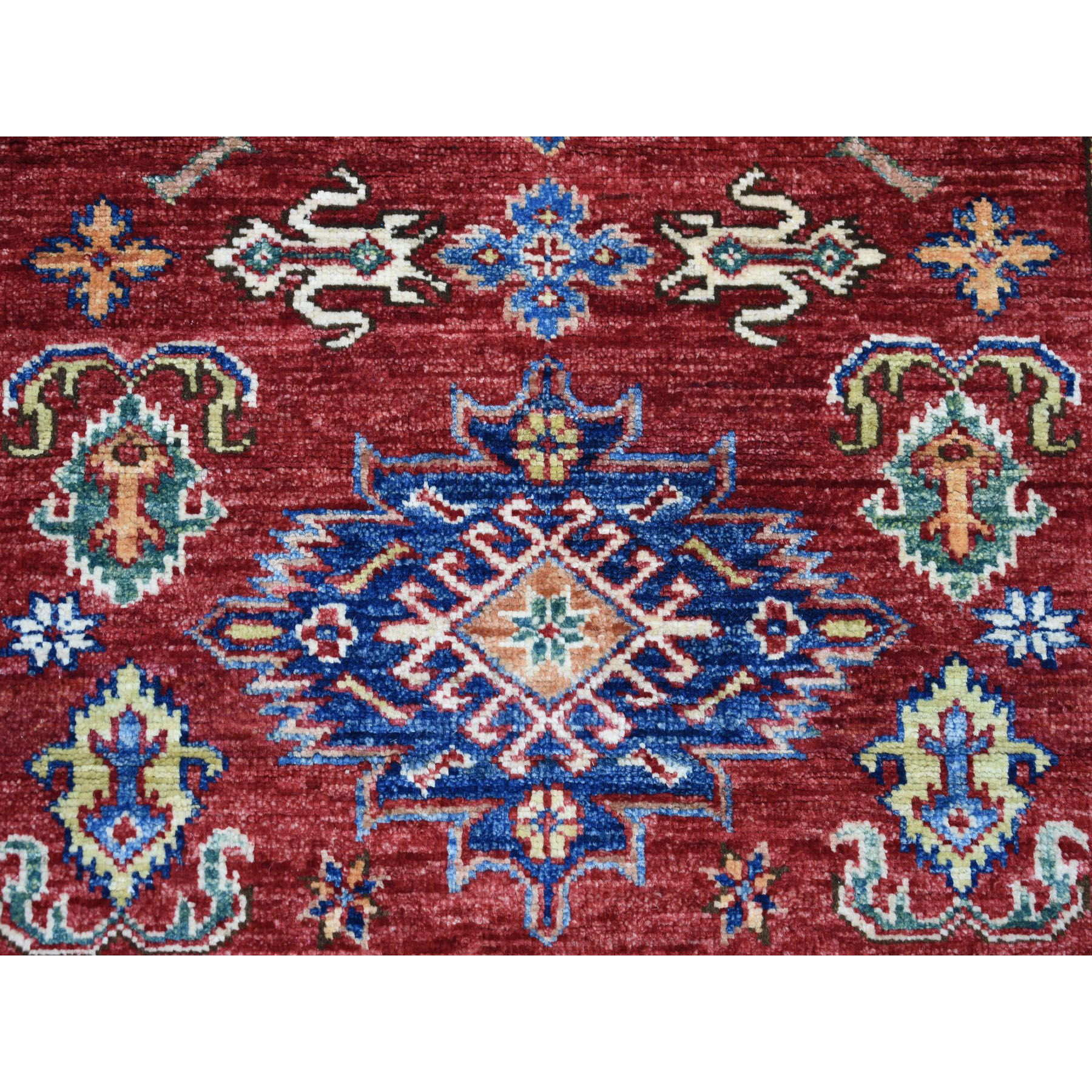 3-3 x4-9  Red Super Kazak Pure Wool Geometric Design Hand-Knotted Oriental Rug