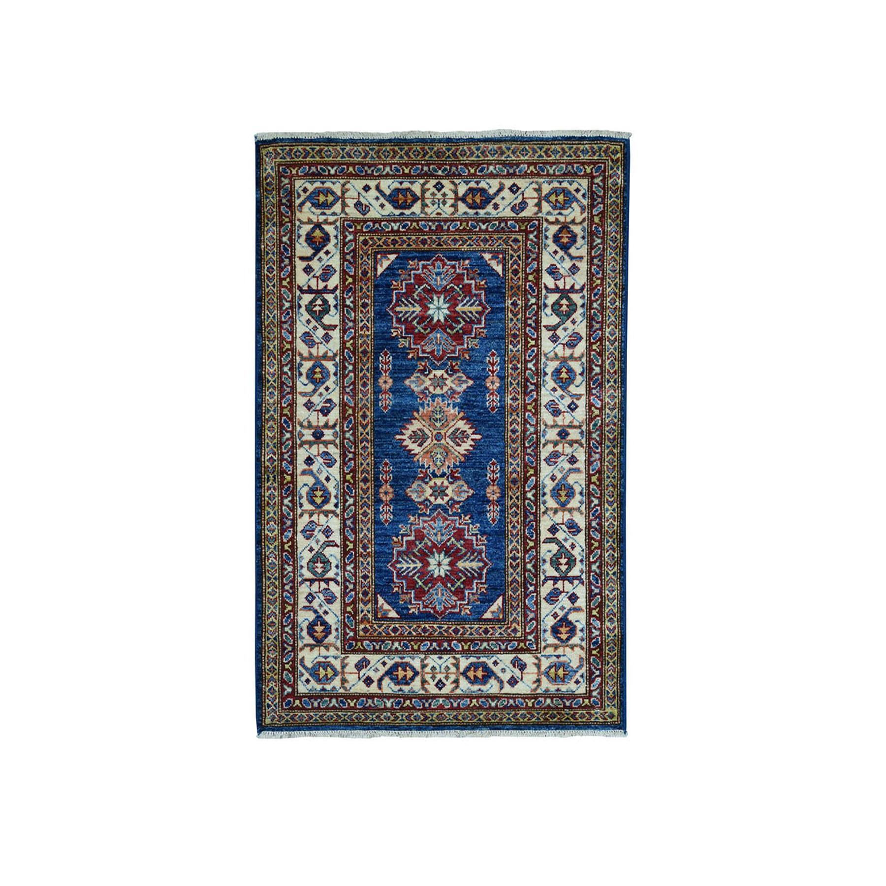 3'X4' Blue Super Kazak Pure Wool Geometric Design Hand-Knotted Oriental Rug moae09d0