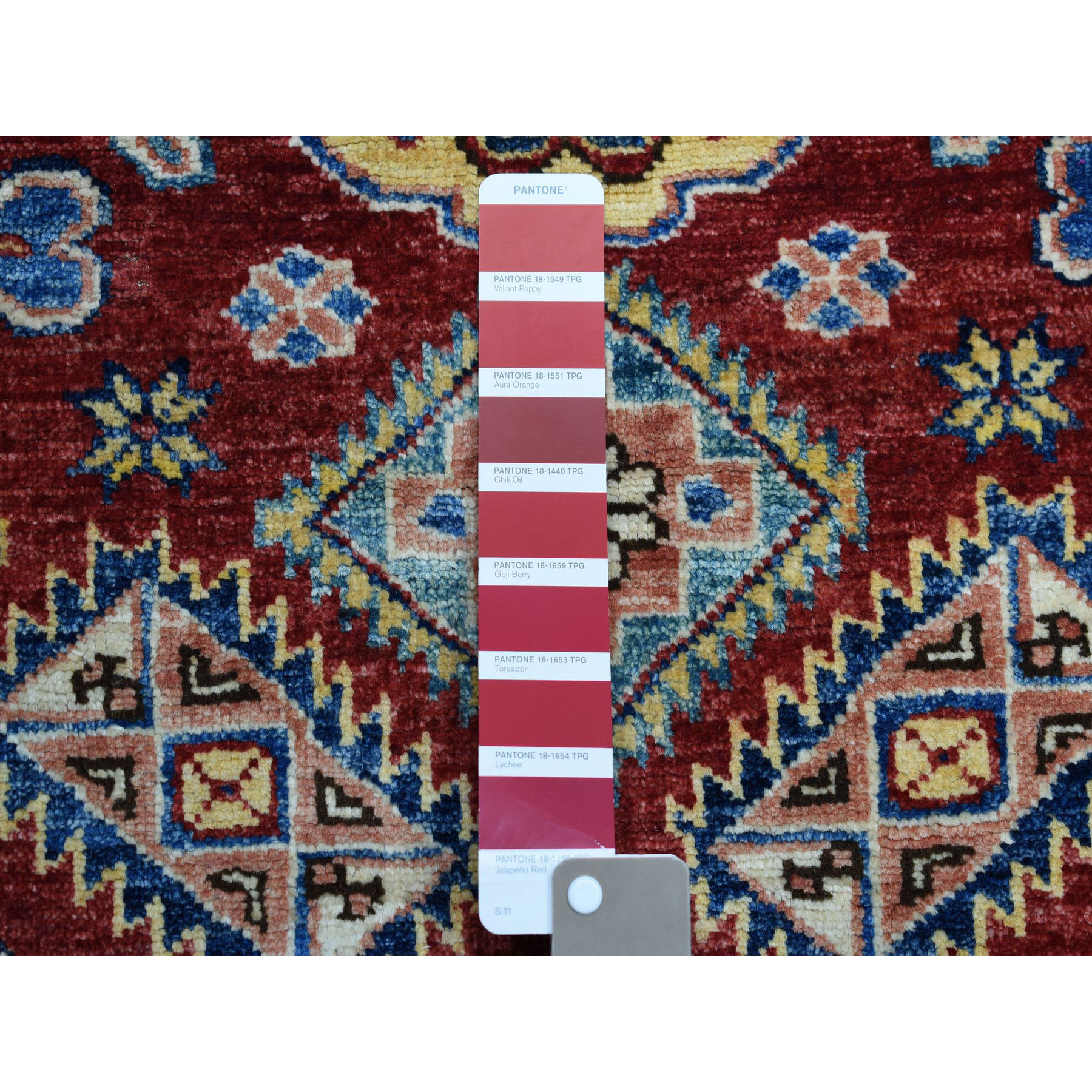 3-x4- Red Super Kazak Pure Wool Geometric Design Hand-Knotted Oriental Rug