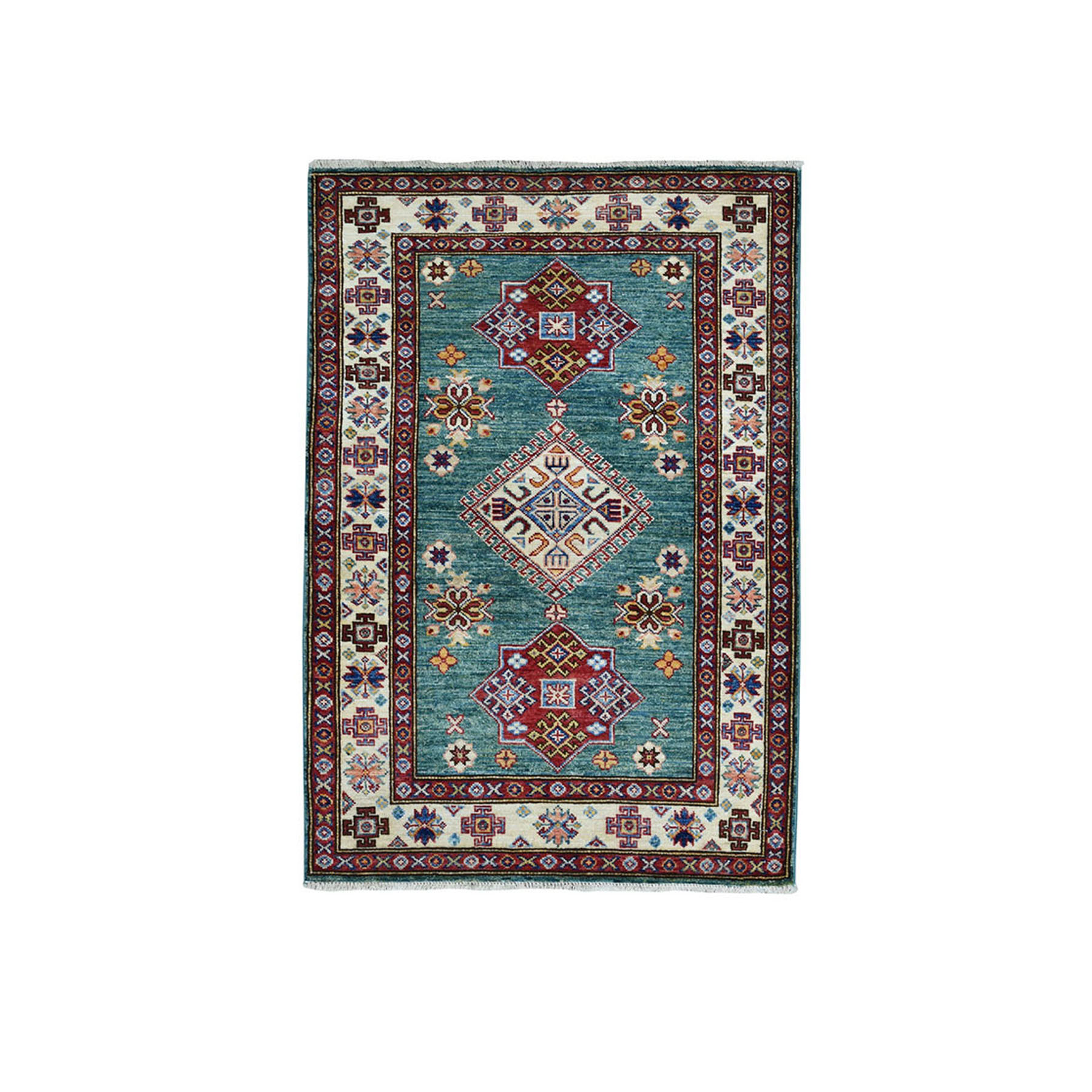 "3'X4'1"" Green Super Kazak Pure Wool Geometric Design Hand-Knotted Oriental Rug moae09dc"