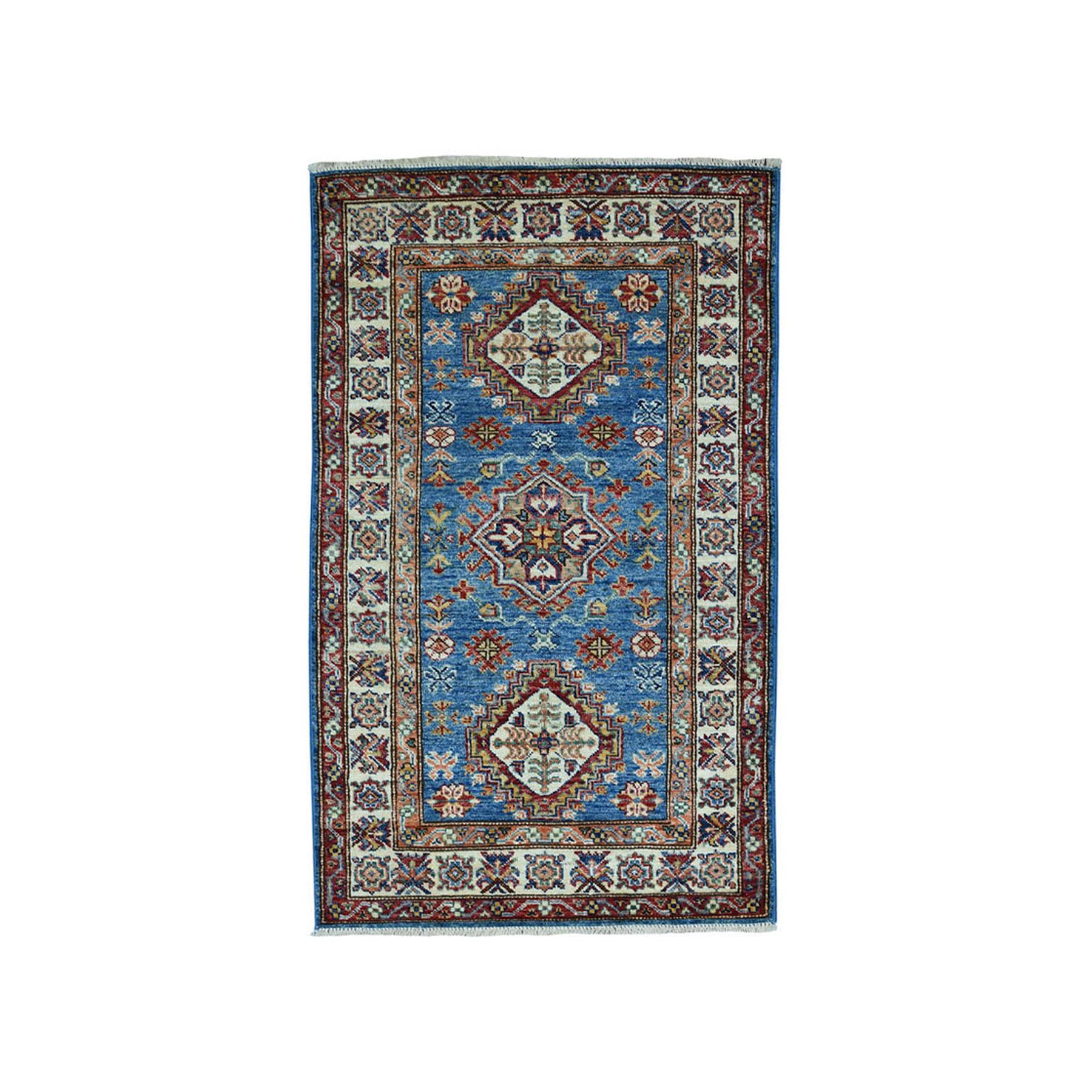 "2'6""X4' Blue Super Kazak Pure Wool Geometric Design Hand-Knotted Oriental Rug moae09d6"