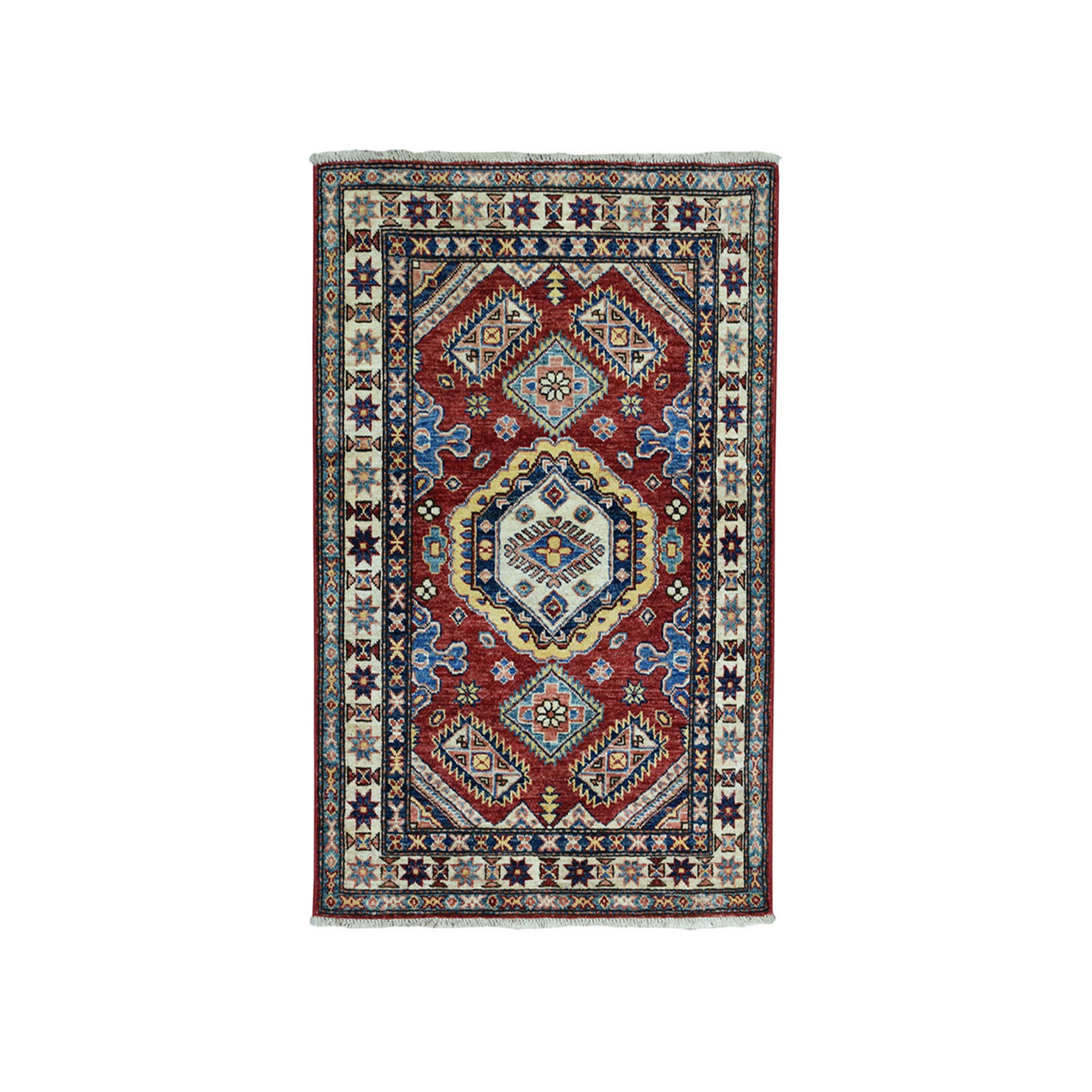 "2'9""x3'10"" Red Super Kazak Pure Wool Geometric Design Hand-Knotted Oriental Rug"