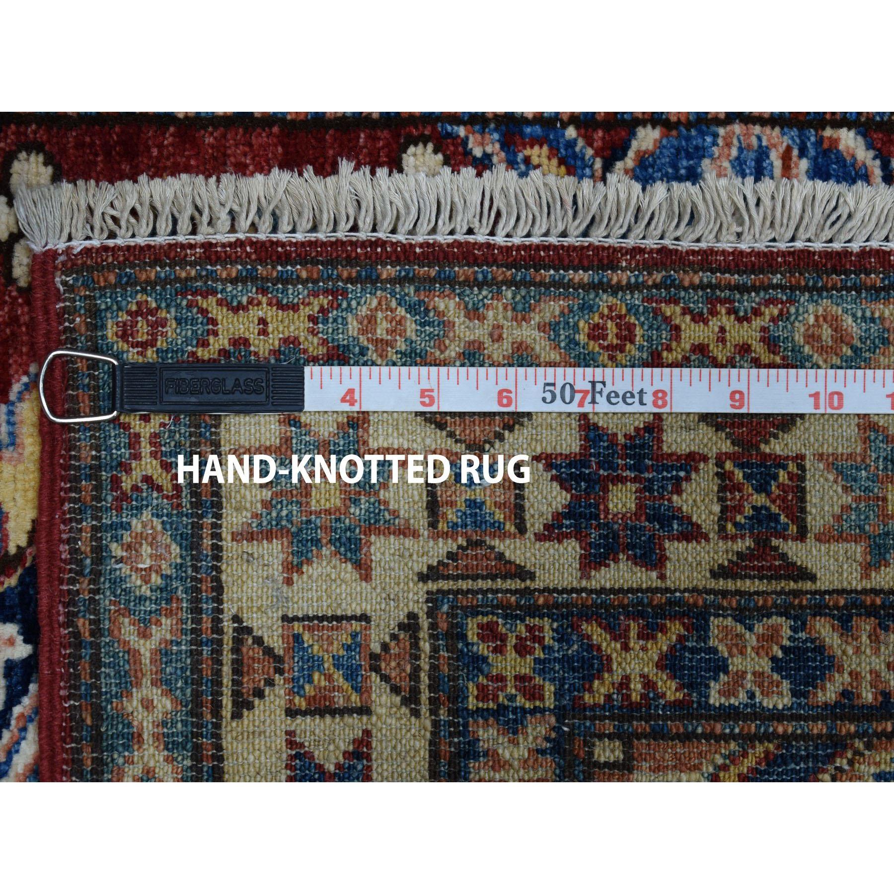 2-9 x3-10  Red Super Kazak Pure Wool Geometric Design Hand-Knotted Oriental Rug