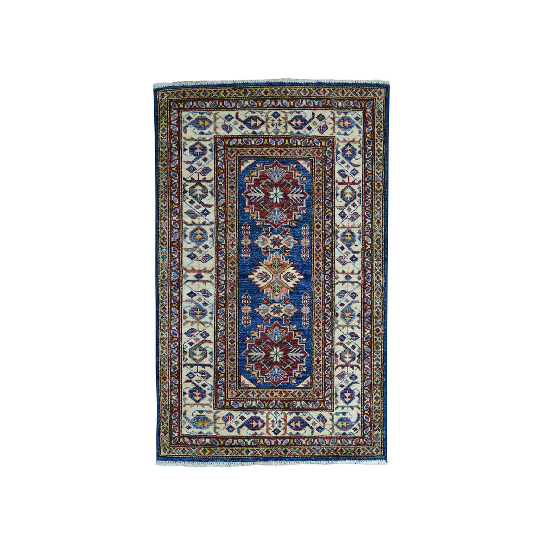 "2'10""X4' Blue Super Kazak Pure Wool Geometric Design Hand-Knotted Oriental Rug moae09d8"