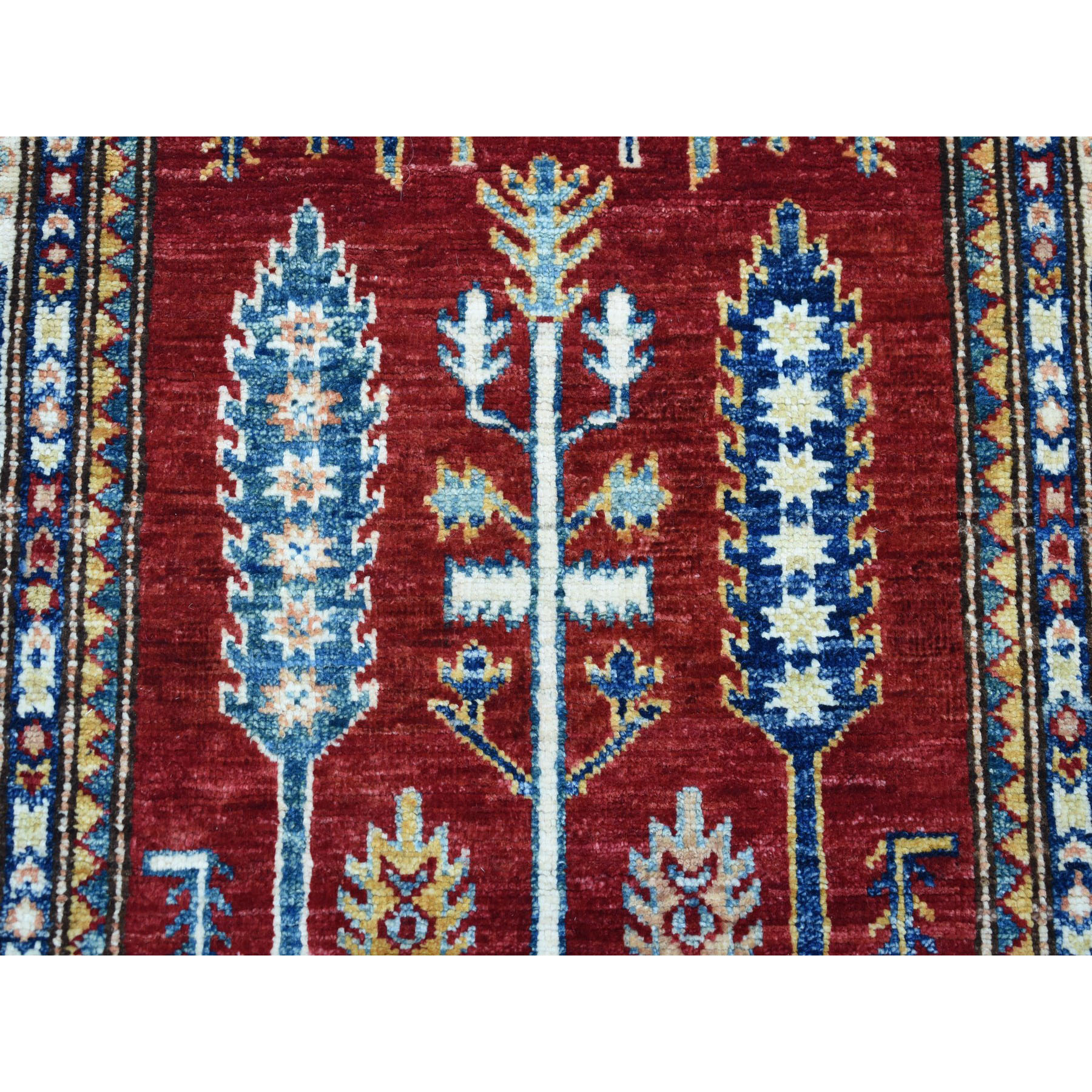 2-9 x4-5  Red Super Kazak Pure Wool Geometric Design Hand-Knotted Oriental Rug