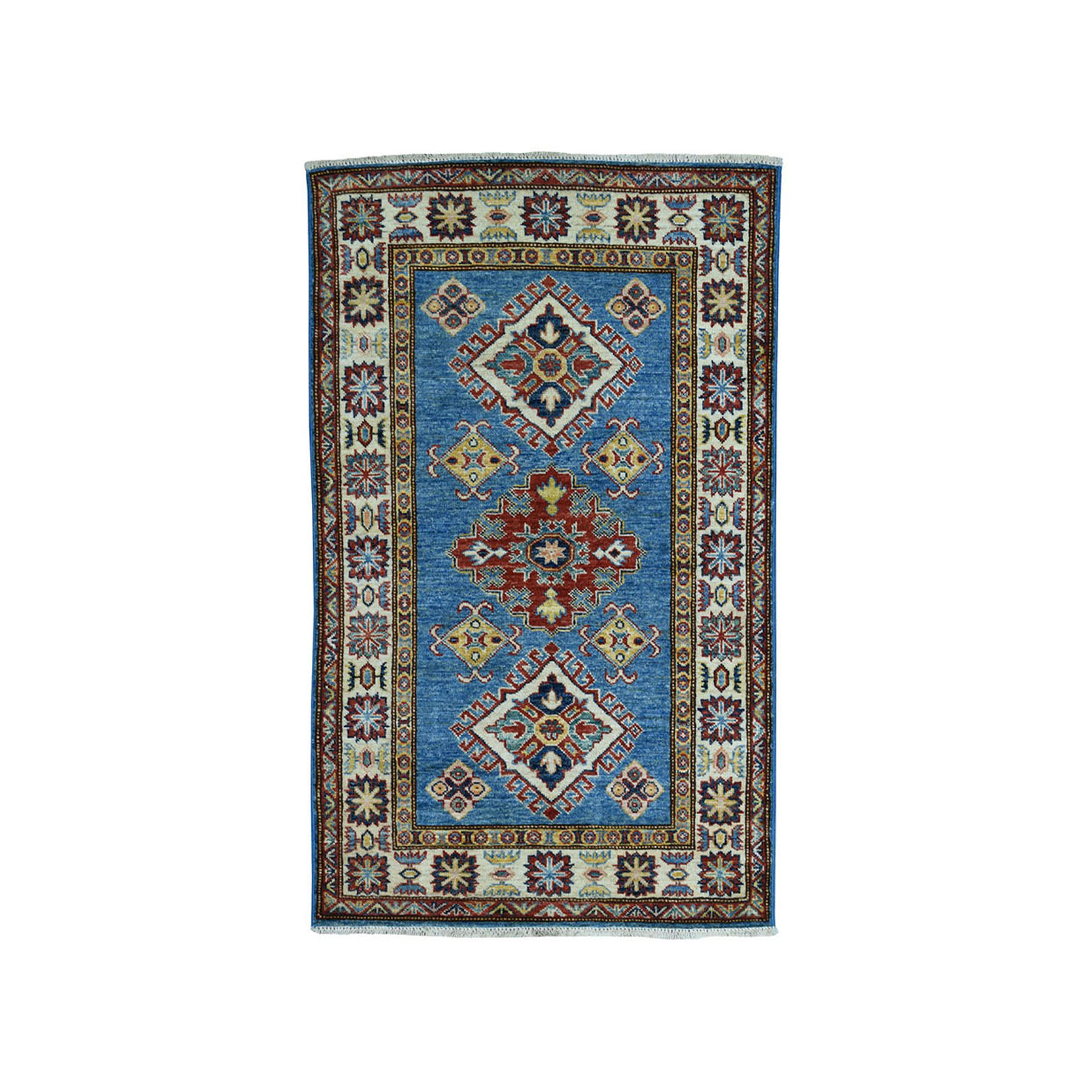 "2'9""X4'5"" Blue Super Kazak Pure Wool Geometric Design Hand-Knotted Oriental Rug moae09e0"