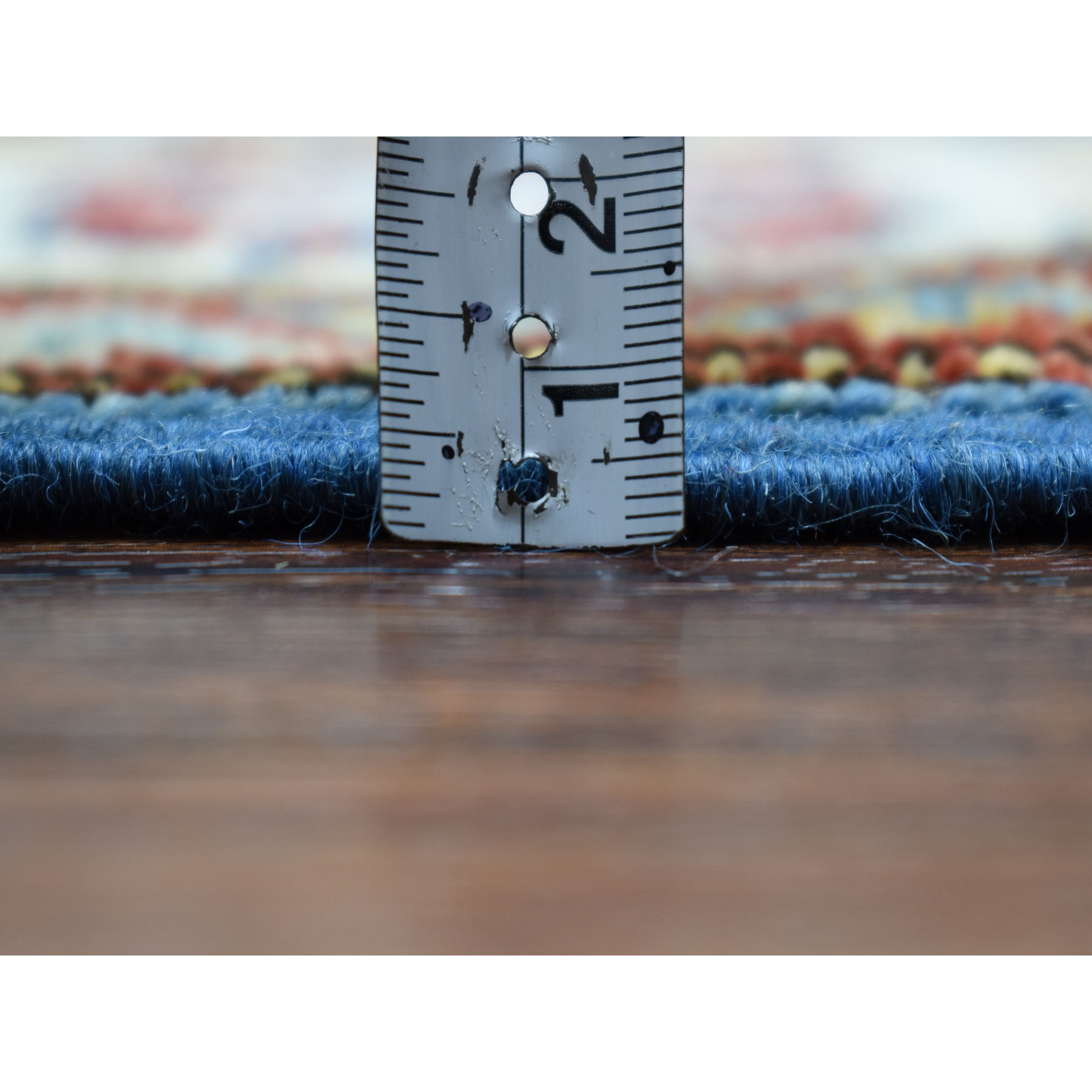 2-9 x4-5  Blue Super Kazak Pure Wool Geometric Design Hand-Knotted Oriental Rug