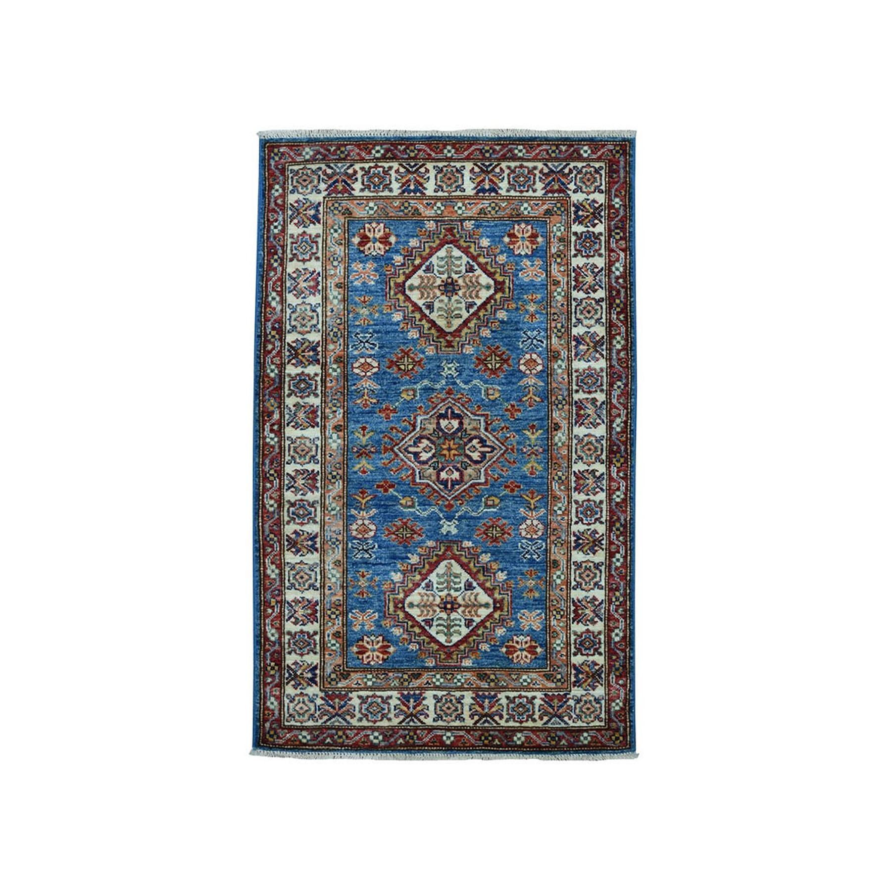 "2'7""X4' Blue Super Kazak Pure Wool Geometric Design Hand-Knotted Oriental Rug moae09eb"