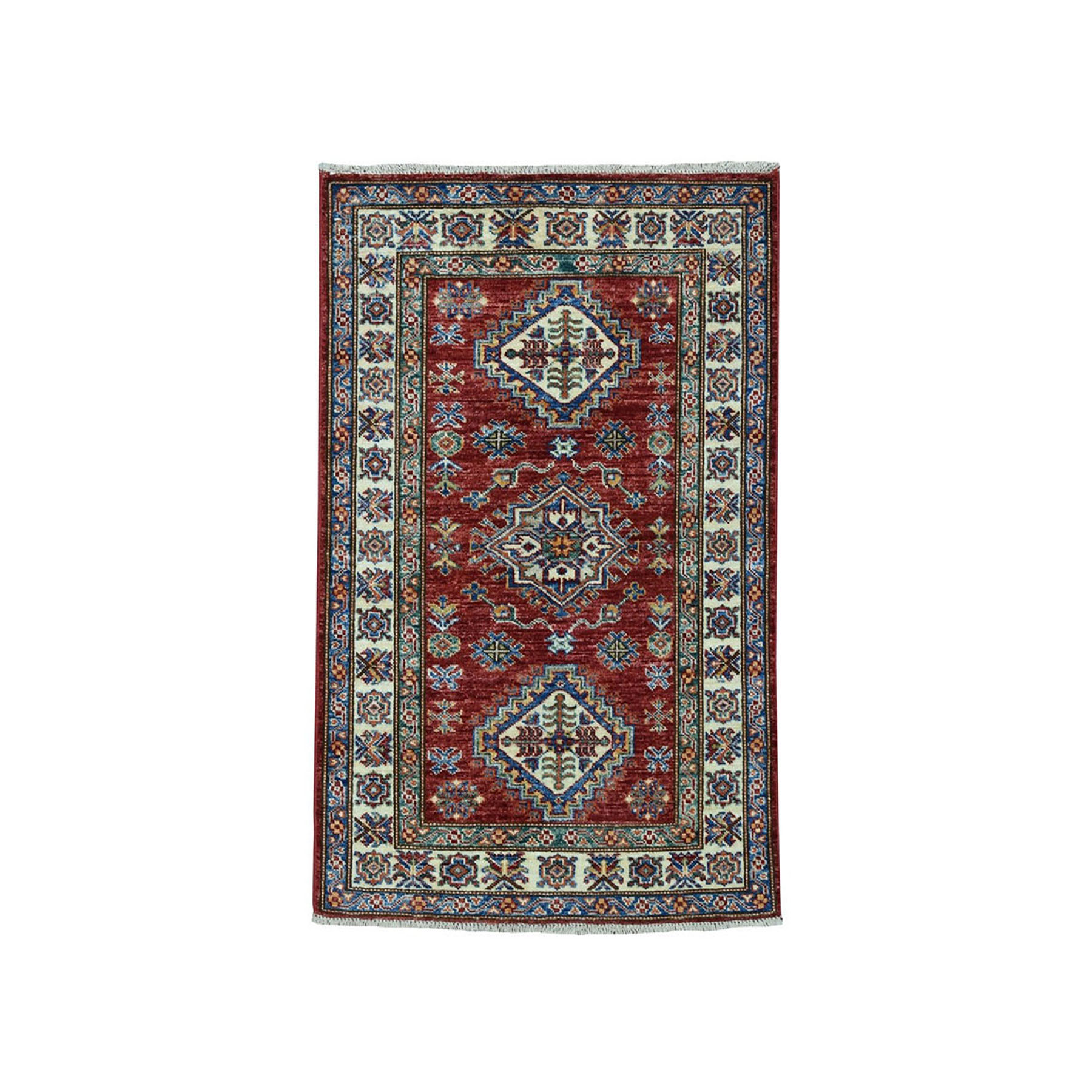 "2'7""X3'9"" Red Super Kazak Pure Wool Geometric Design Hand-Knotted Oriental Rug moae09ec"