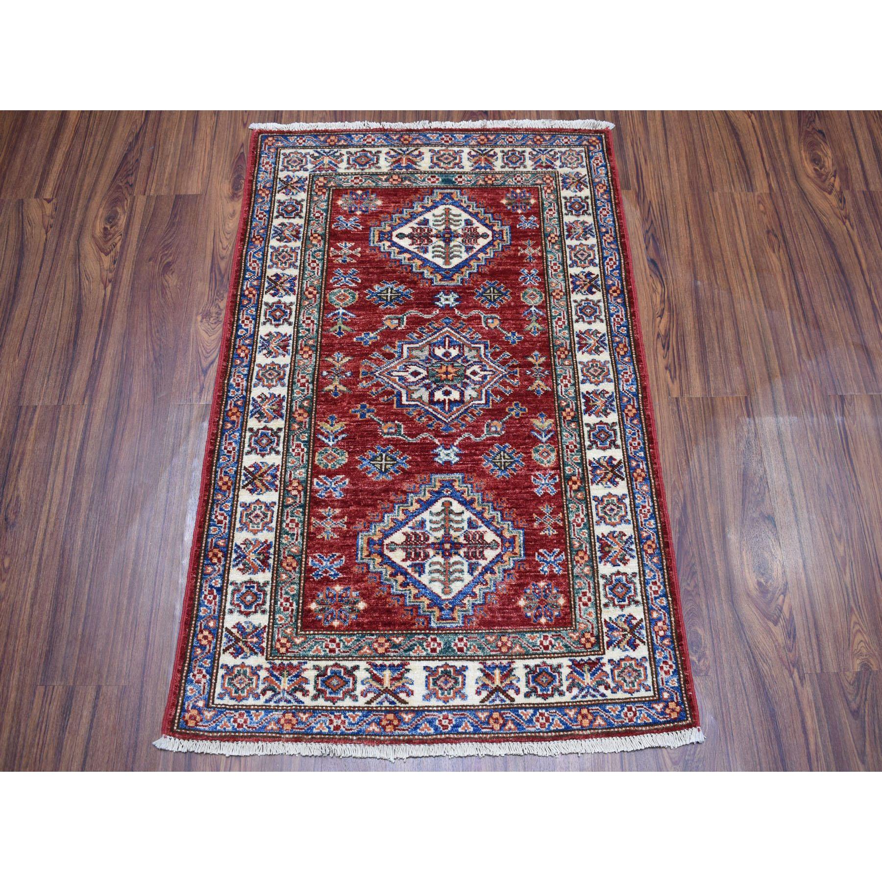 2-7 x3-9  Red Super Kazak Pure Wool Geometric Design Hand-Knotted Oriental Rug