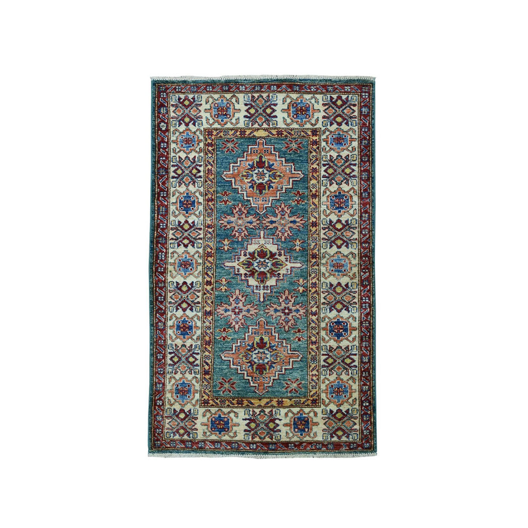 "2'4""X4'3"" Green Super Kazak Pure Wool Geometric Design Hand-Knotted Oriental Rug moae09ed"