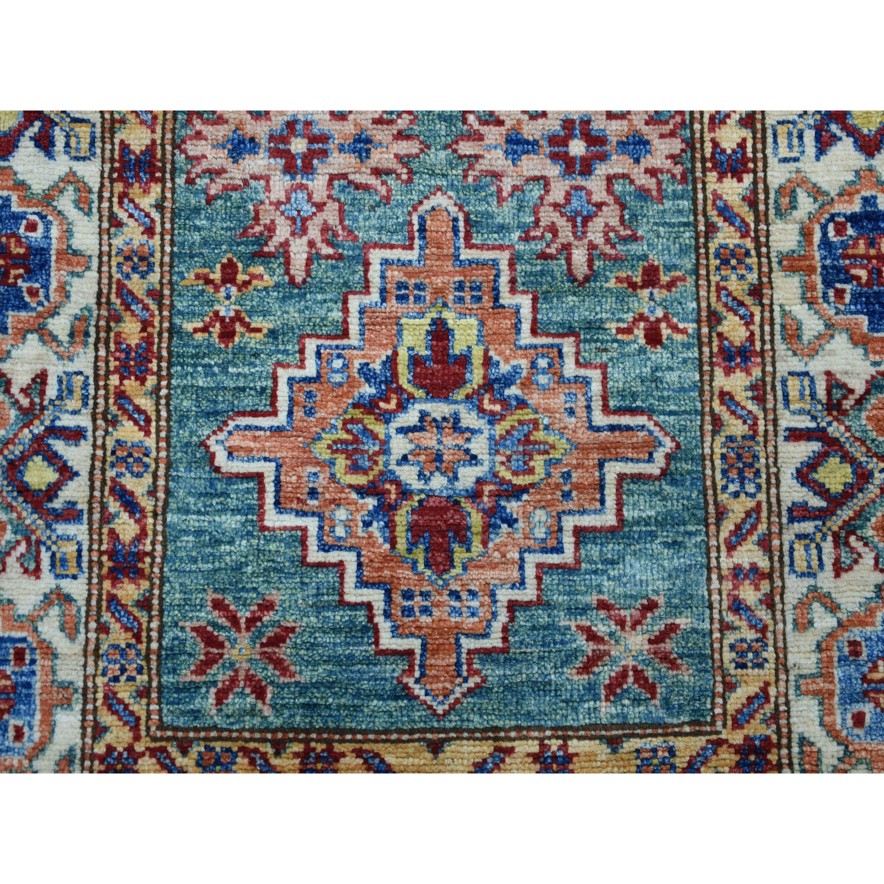 2-4 x4-3  Green Super Kazak Pure Wool Geometric Design Hand-Knotted Oriental Rug