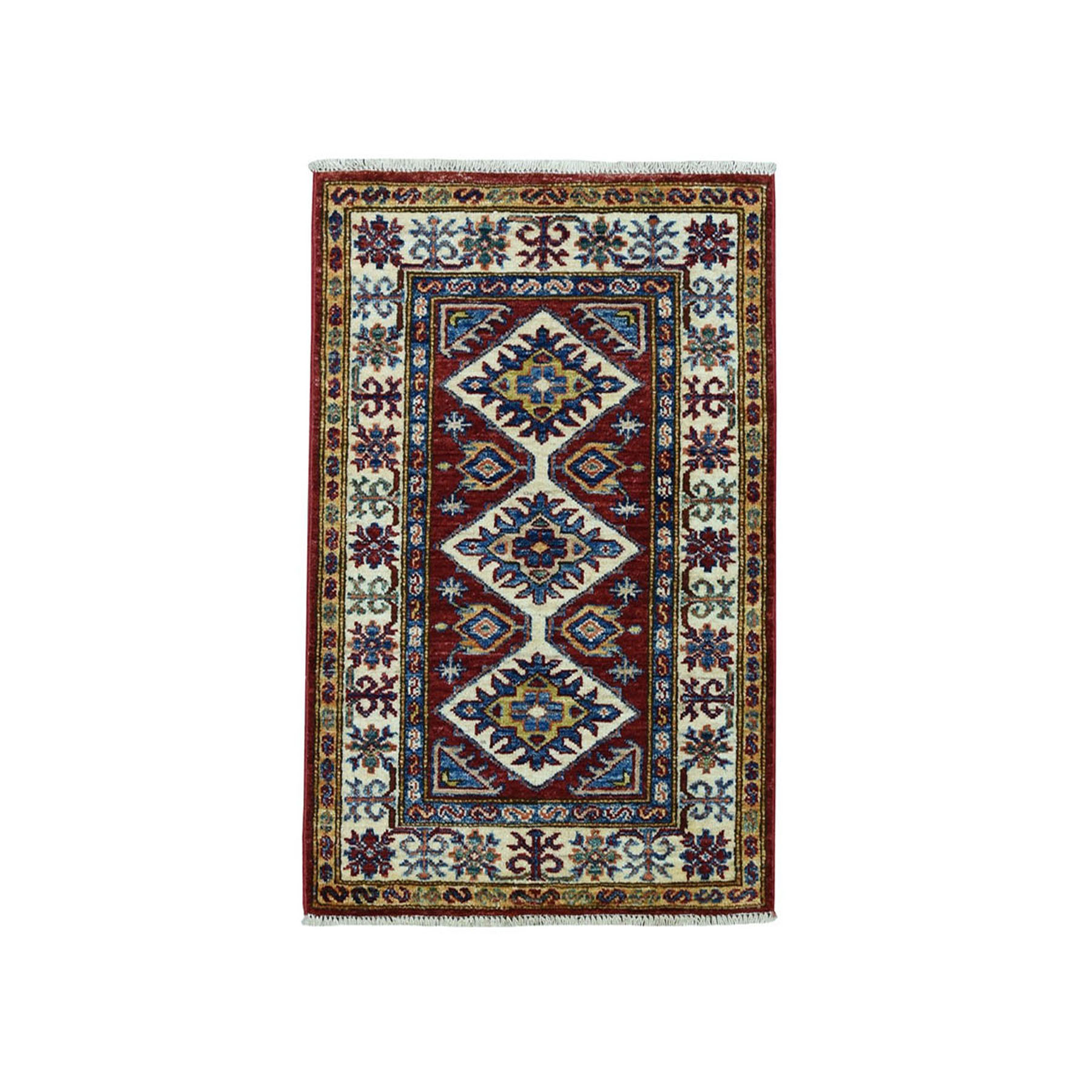 2'X3' Red Super Kazak Pure Wool Geometric Design Hand-Knotted Oriental Rug moae09ee
