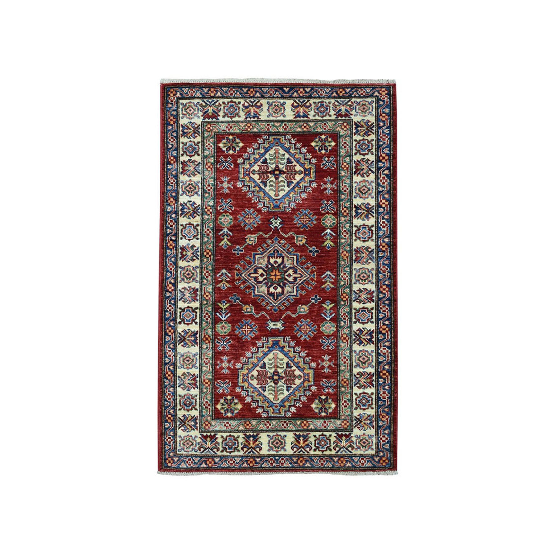 "2'6""X4'2"" Red Super Kazak Pure Wool Geometric Design Hand-Knotted Oriental Rug moae09e9"