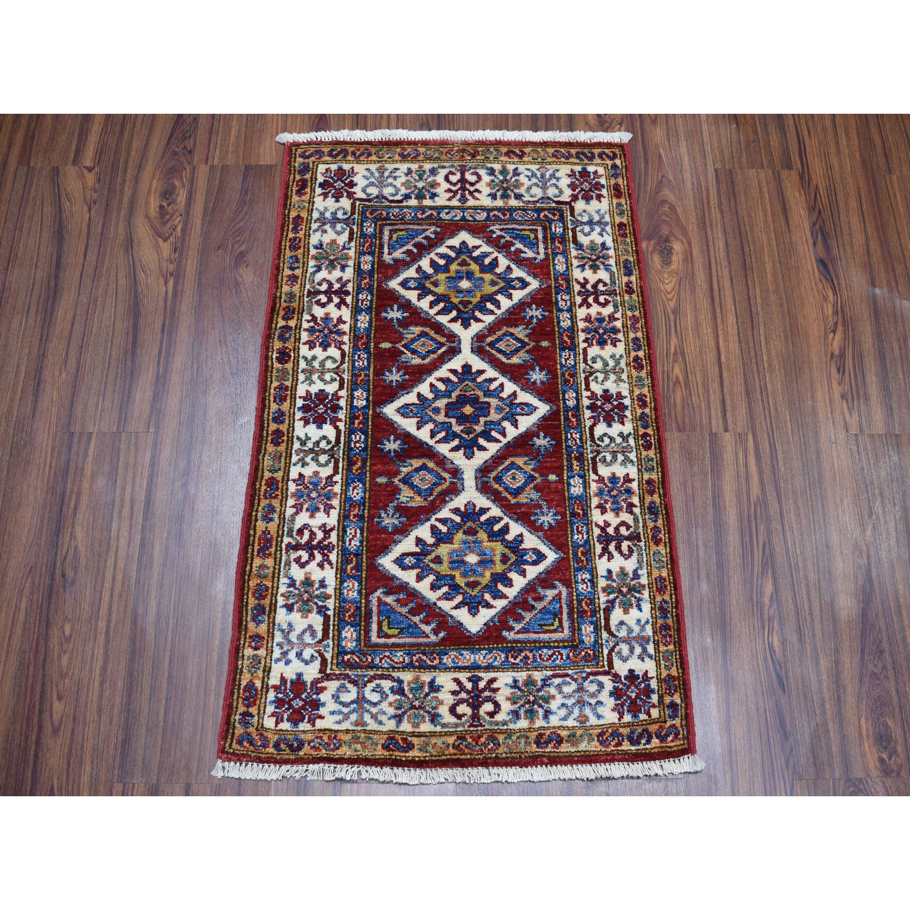 2-x3-1  Red Super Kazak Geometric Design Pure Wool Hand-Knotted Oriental Rug