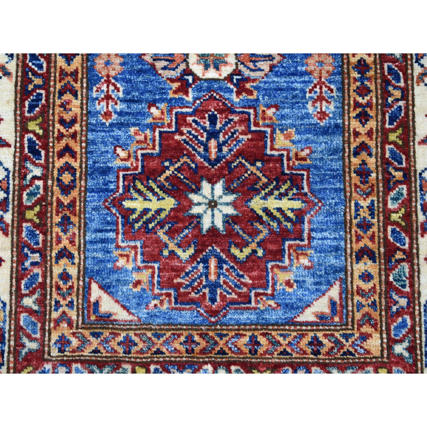 2-9 x4- Blue Super Kazak Geometric Design Pure Wool Hand-Knotted Oriental Rug
