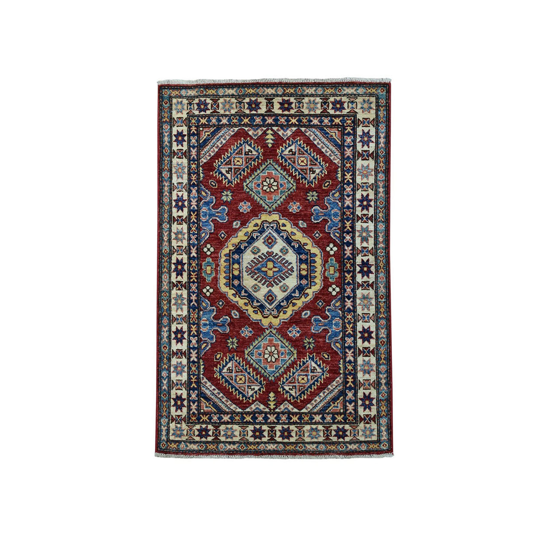 "2'9""x4' Red Super Kazak Geometric Design Pure Wool Hand-Knotted Oriental Rug"