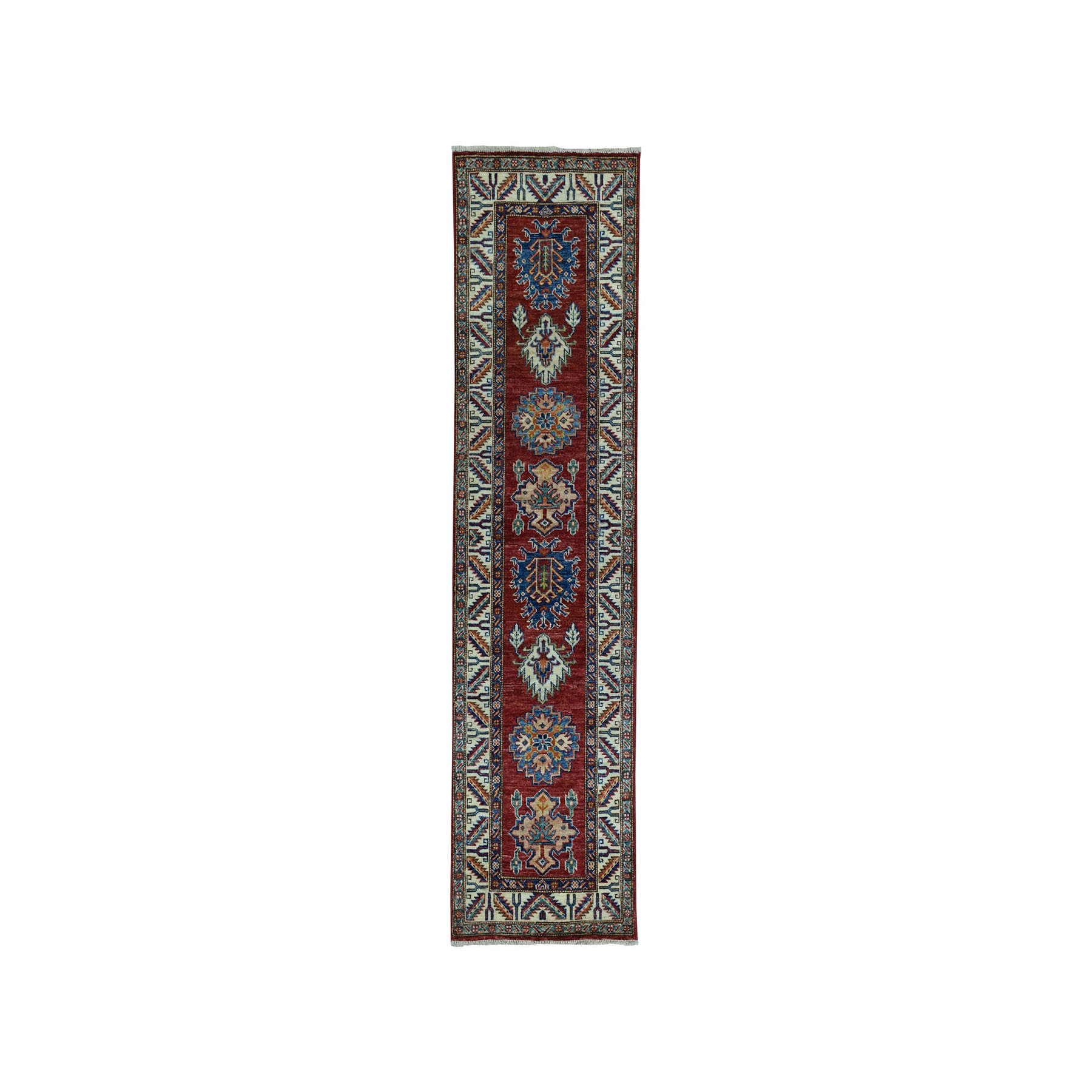 "2'X6'5"" Red Super Kazak Pure Wool Geometric Design Hand-Knotted Runner Oriental Rug moae096d"