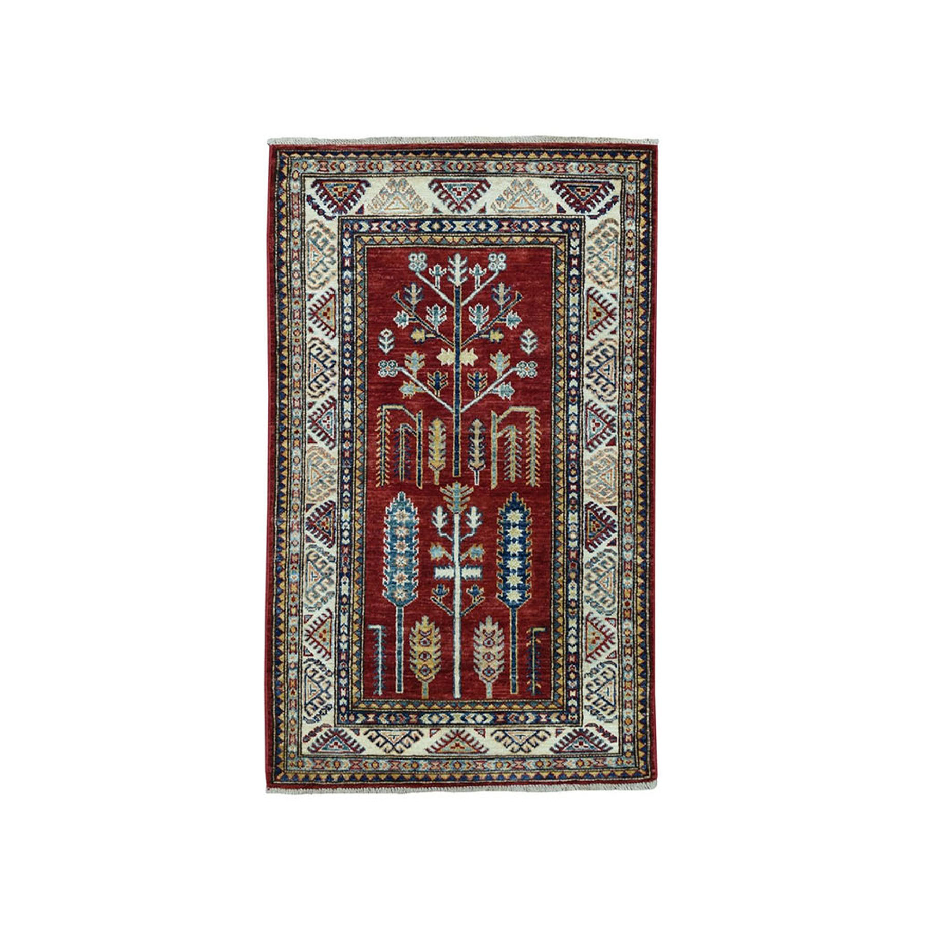 "2'7""x4'6"" Red Super Kazak Pure Wool Geometric Design Hand-Knotted Oriental Rug"