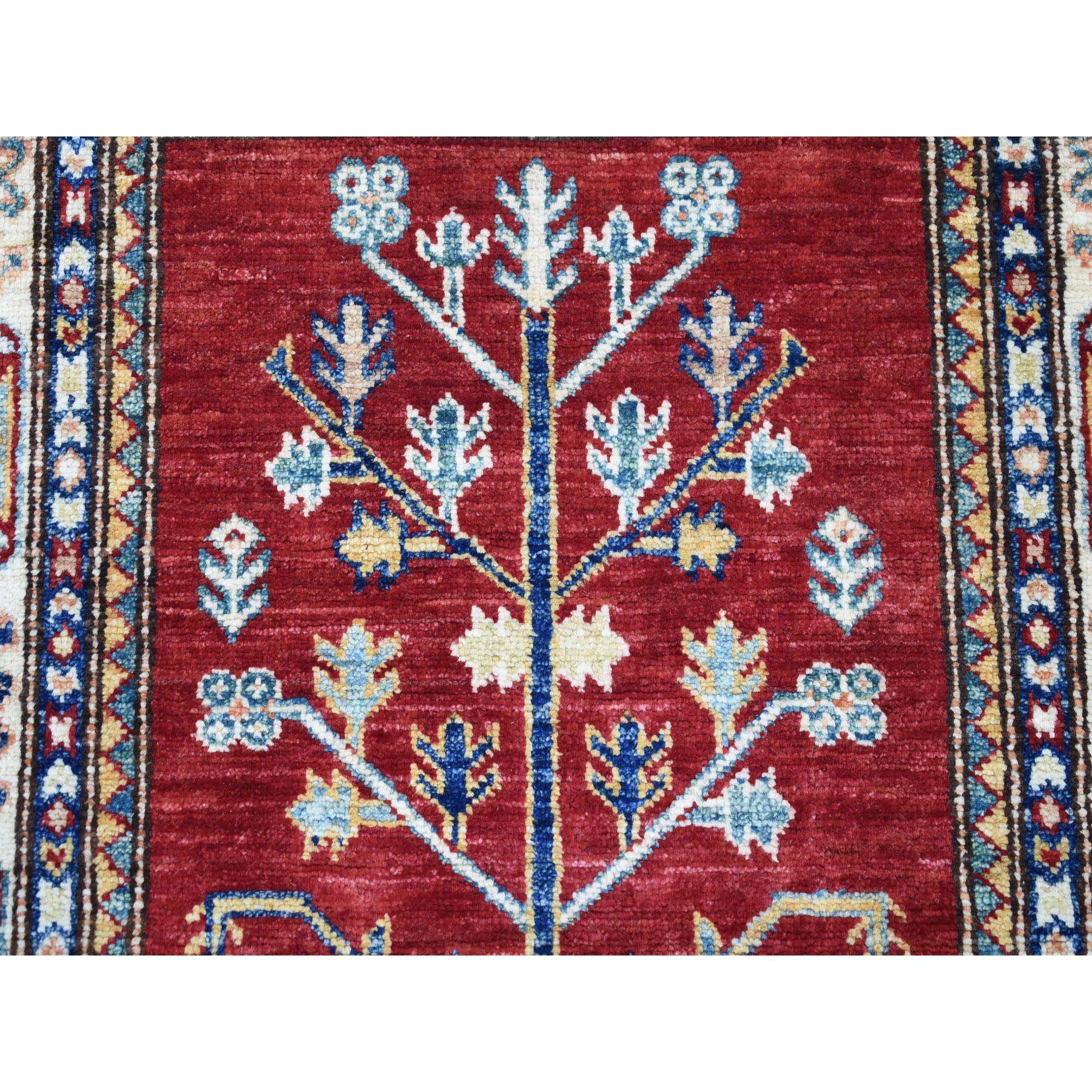 2-7 x4-6  Red Super Kazak Pure Wool Geometric Design Hand-Knotted Oriental Rug