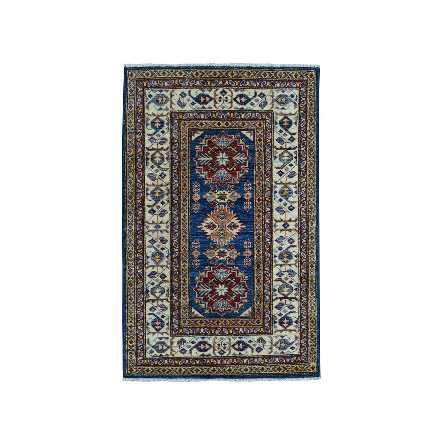 "2'9""X4' Blue Super Kazak Geometric Design Pure Wool Hand-Knotted Oriental Rug moae0966"