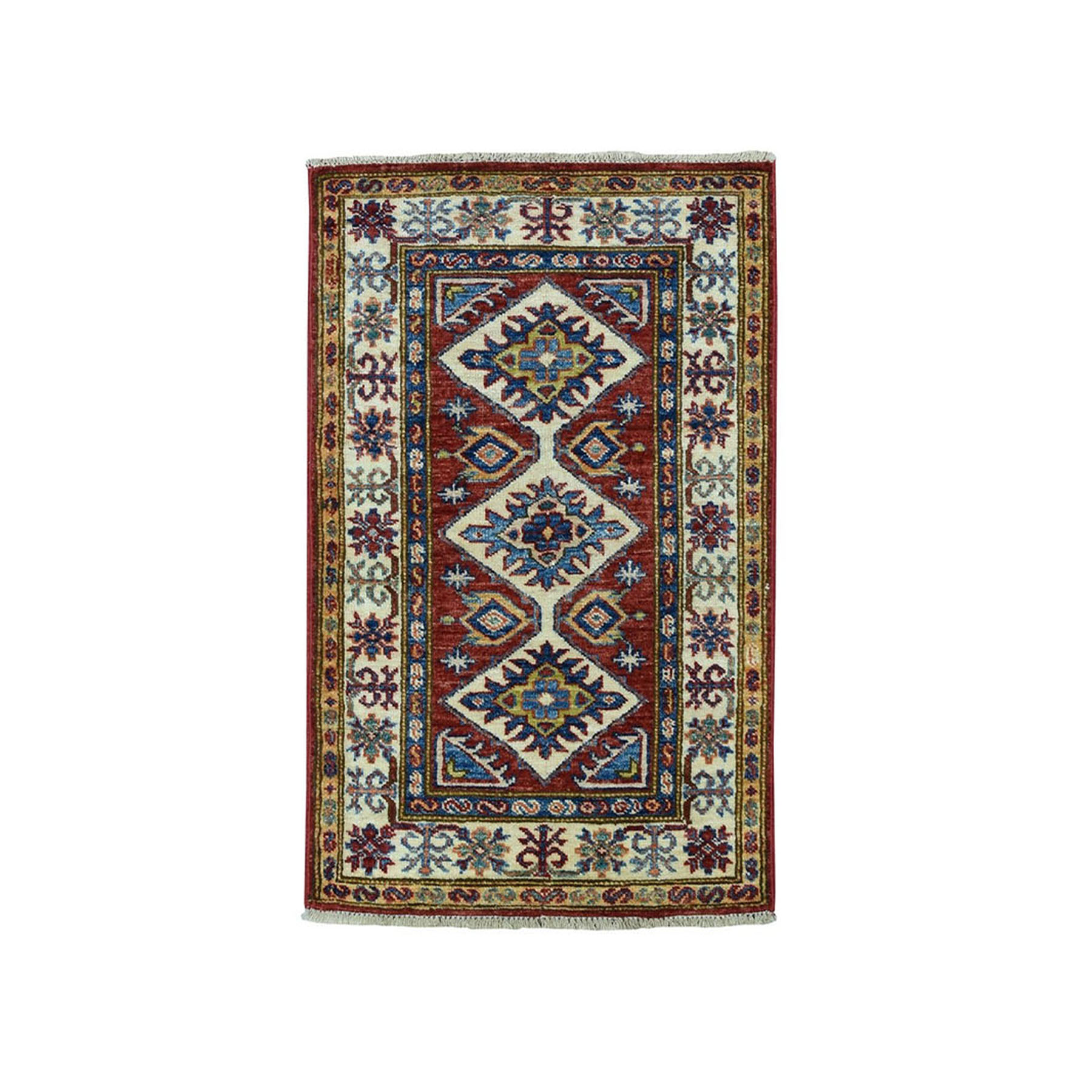 "1'10""X3'3"" Red Super Kazak Pure Wool Geometric Design Hand-Knotted Oriental Rug moae0968"