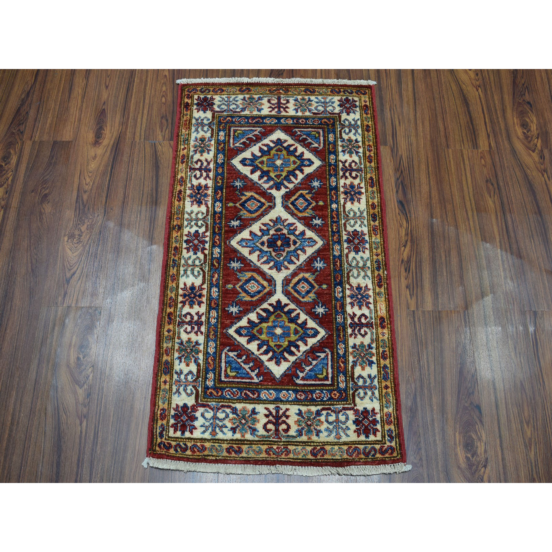 1-10 x3-3  Red Super Kazak Pure Wool Geometric Design Hand-Knotted Oriental Rug