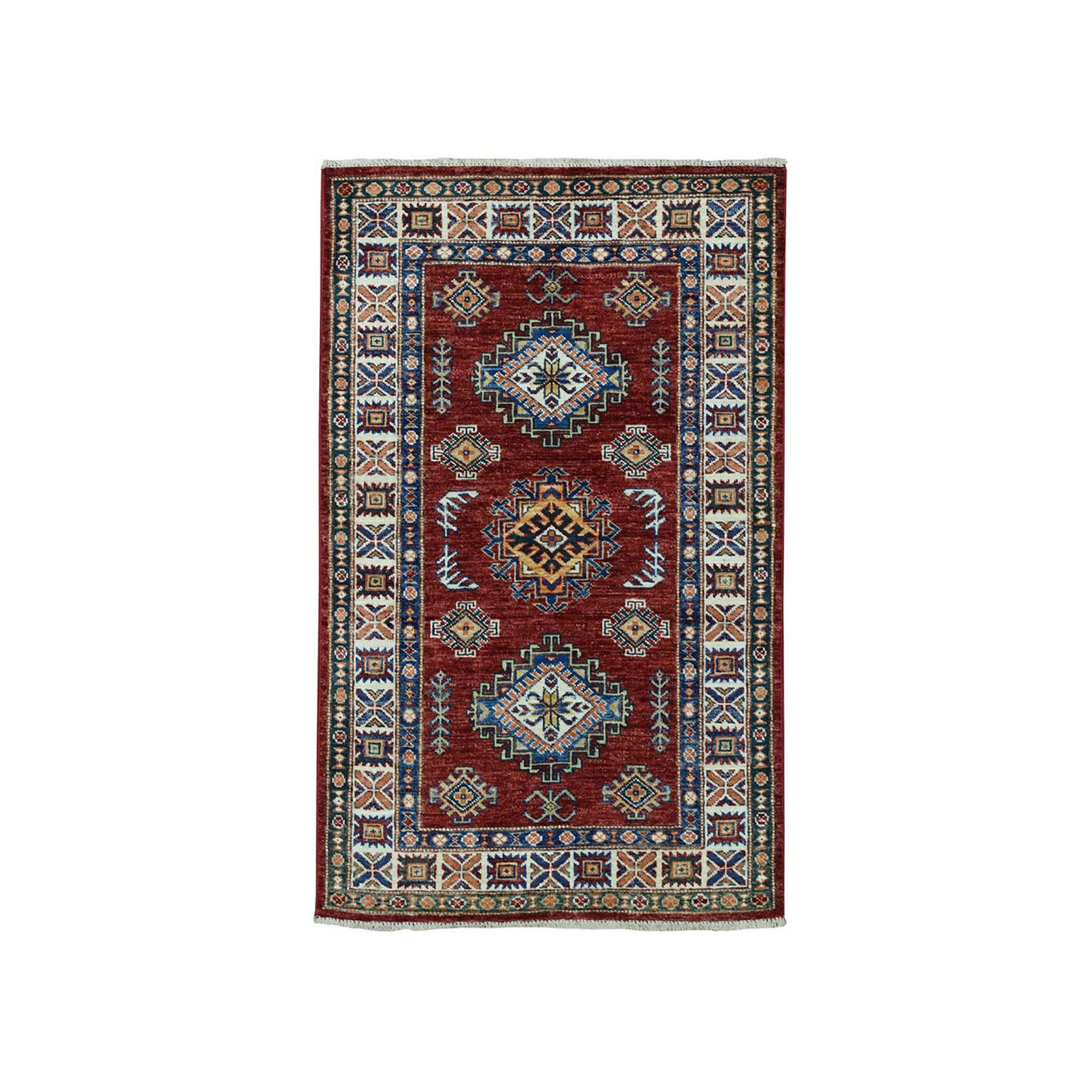 "2'8""x4'2"" Red Super Kazak Pure Wool Geometric Design Hand-Knotted Oriental Rug"