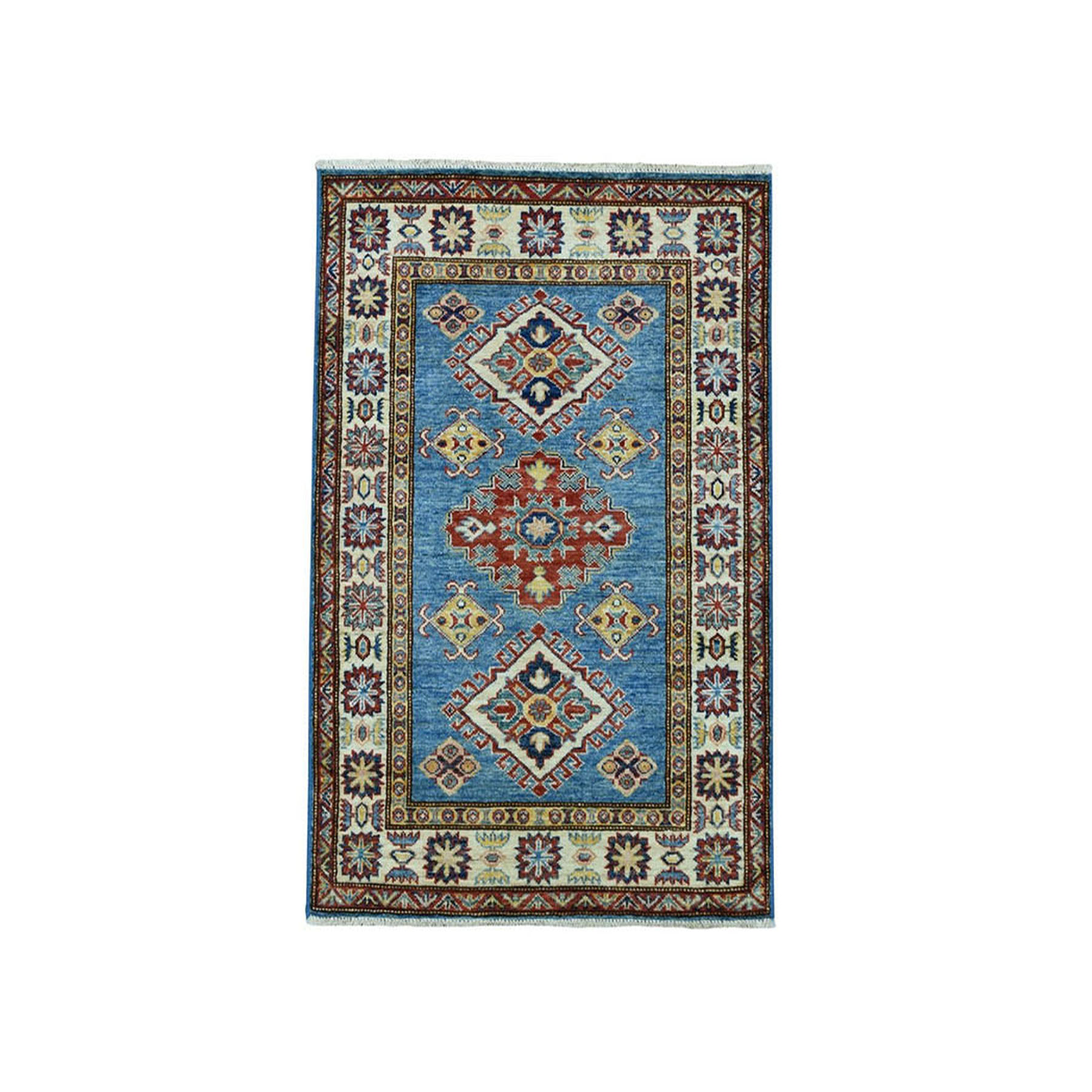 "2'9""x4'1"" Blue Super Kazak Geometric Design Pure Wool Hand-Knotted Oriental Rug"