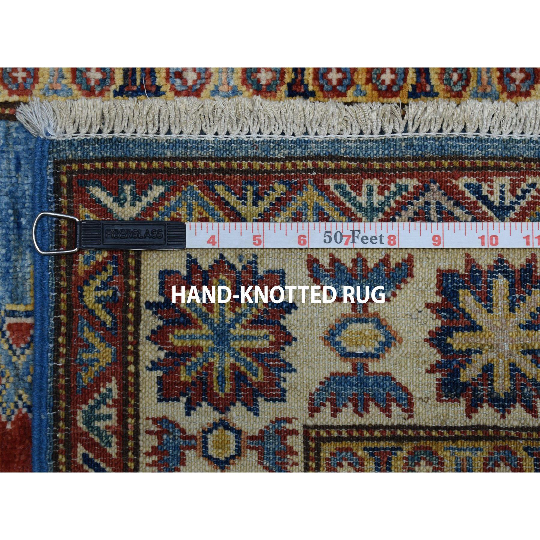 2-9 x4-1  Blue Super Kazak Geometric Design Pure Wool Hand-Knotted Oriental Rug
