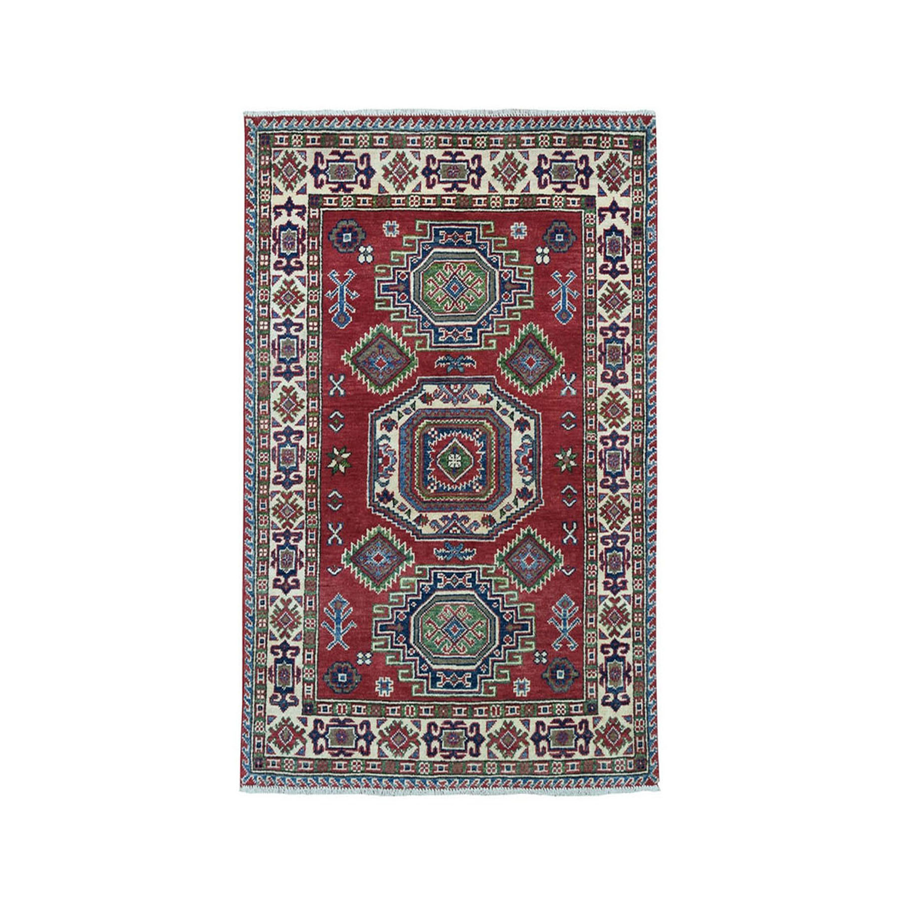"3'1""X4'8"" Red Geometric Design Kazak Pure Wool Hand-Knotted Oriental Rug moae097a"