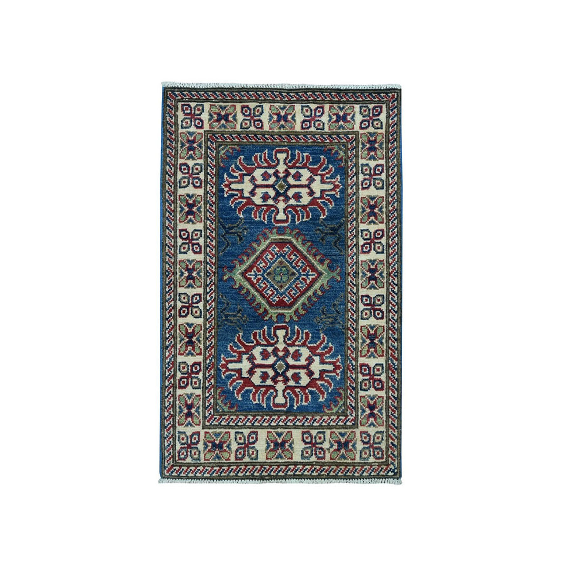 "1'10""X2'10"" Blue Geometric Design Kazak Pure Wool Hand-Knotted Oriental Rug moae097d"