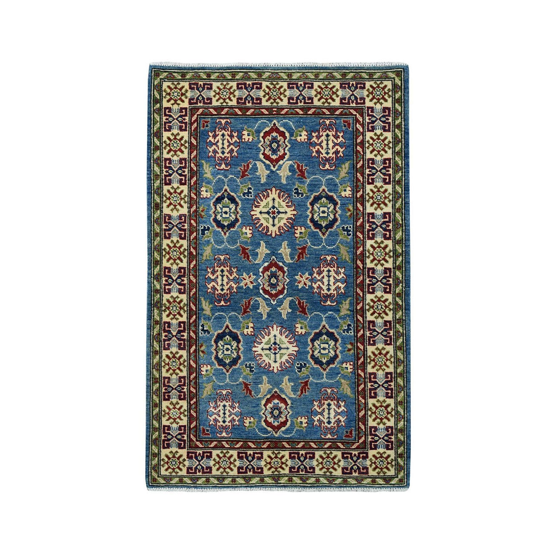 "3'2""X4'10"" Blue Geometric Design Kazak Pure Wool Hand-Knotted Oriental Rug moae097e"
