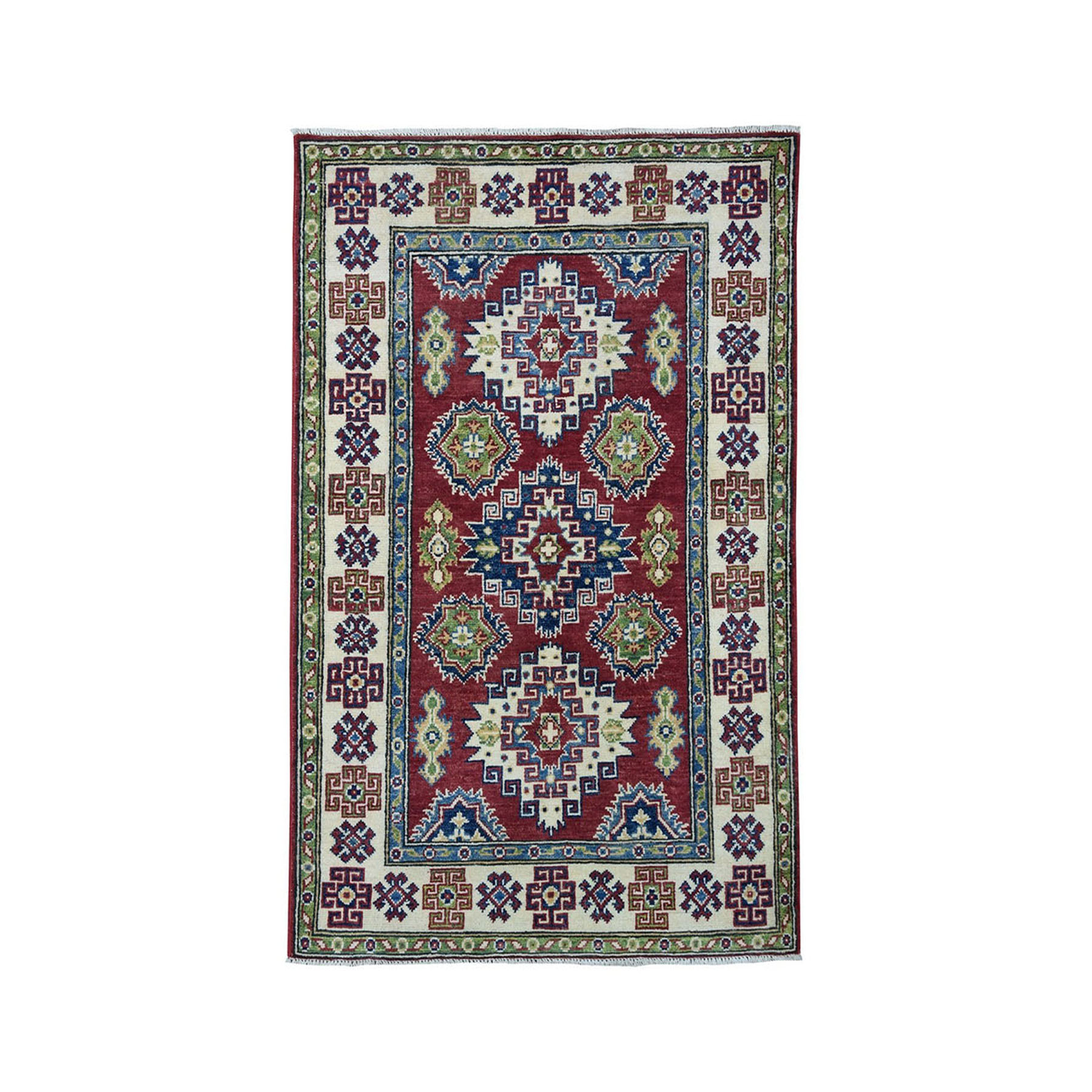 "3'1""X5' Red Geometric Design Kazak Pure Wool Hand-Knotted Oriental Rug moae0976"