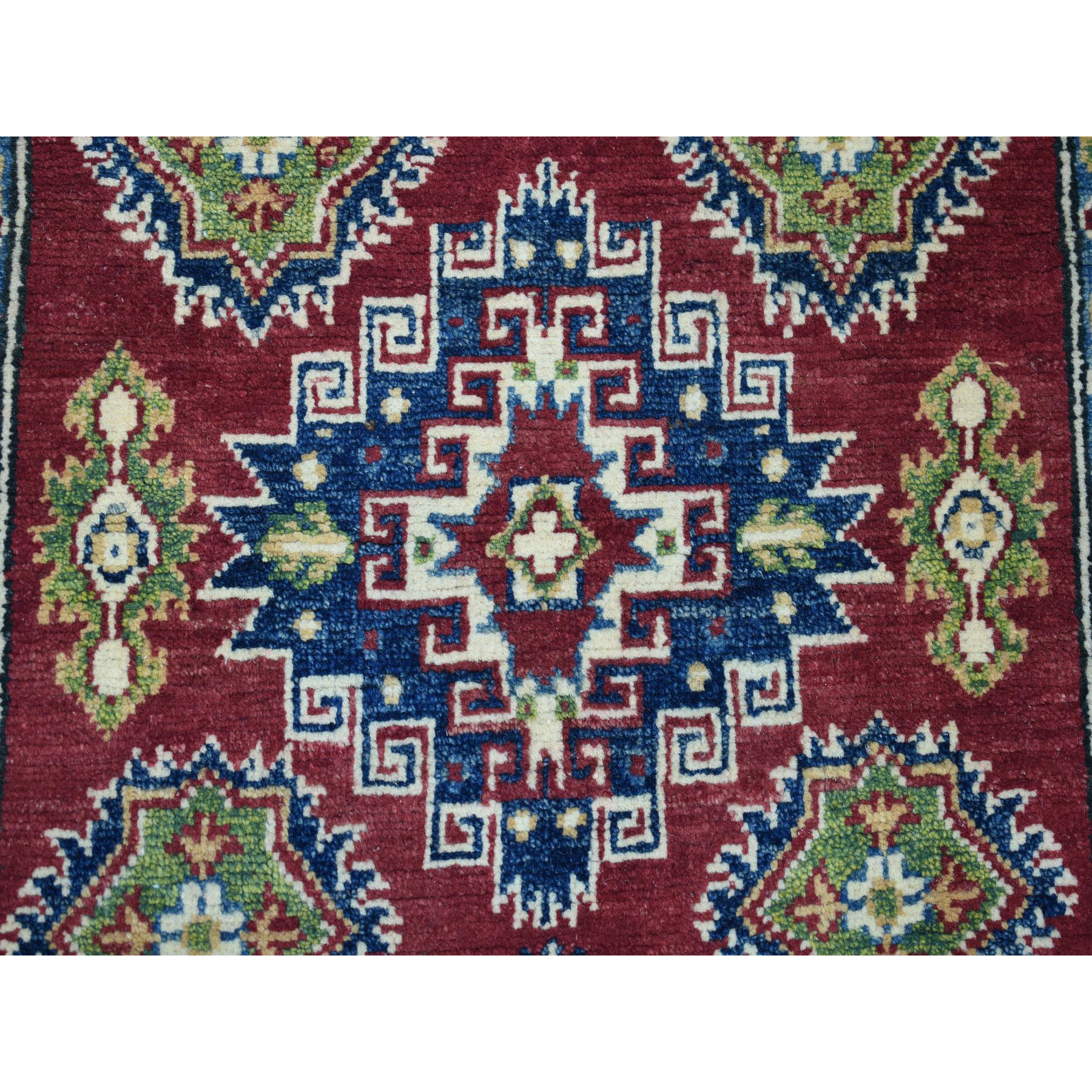 3-1 x5- Red Geometric Design Kazak Pure Wool Hand-Knotted Oriental Rug