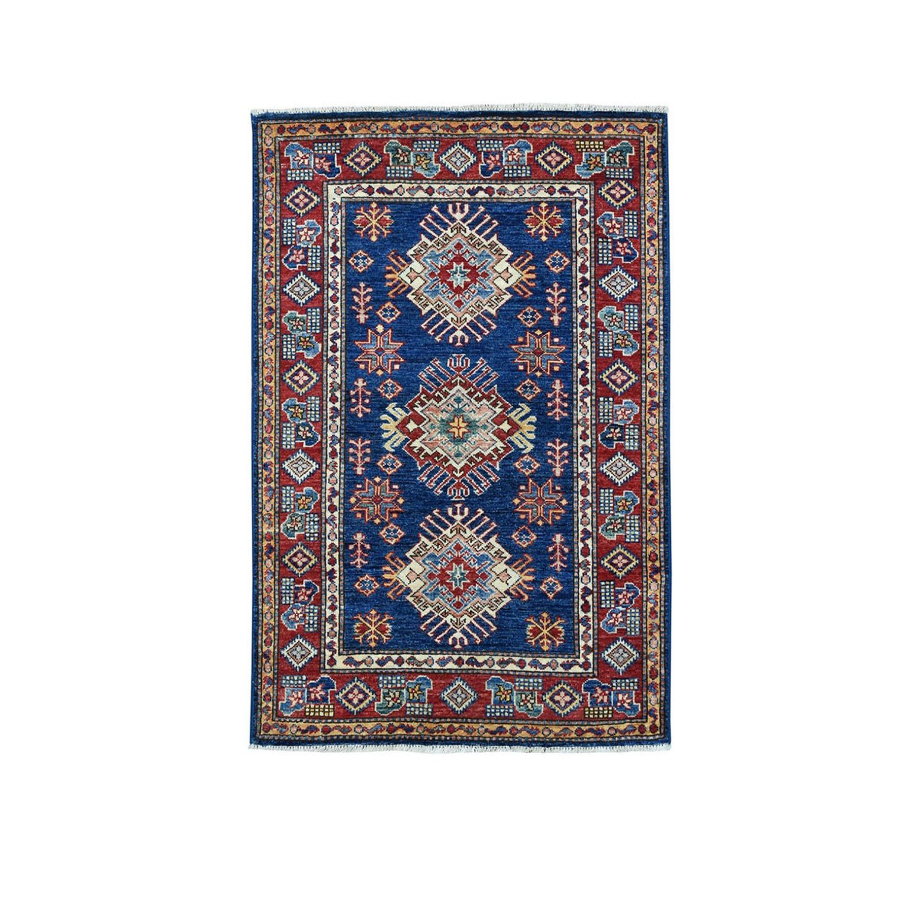 3'X4' Blue Super Kazak Geometric Design Pure Wool Hand-Knotted Oriental Rug moae0979