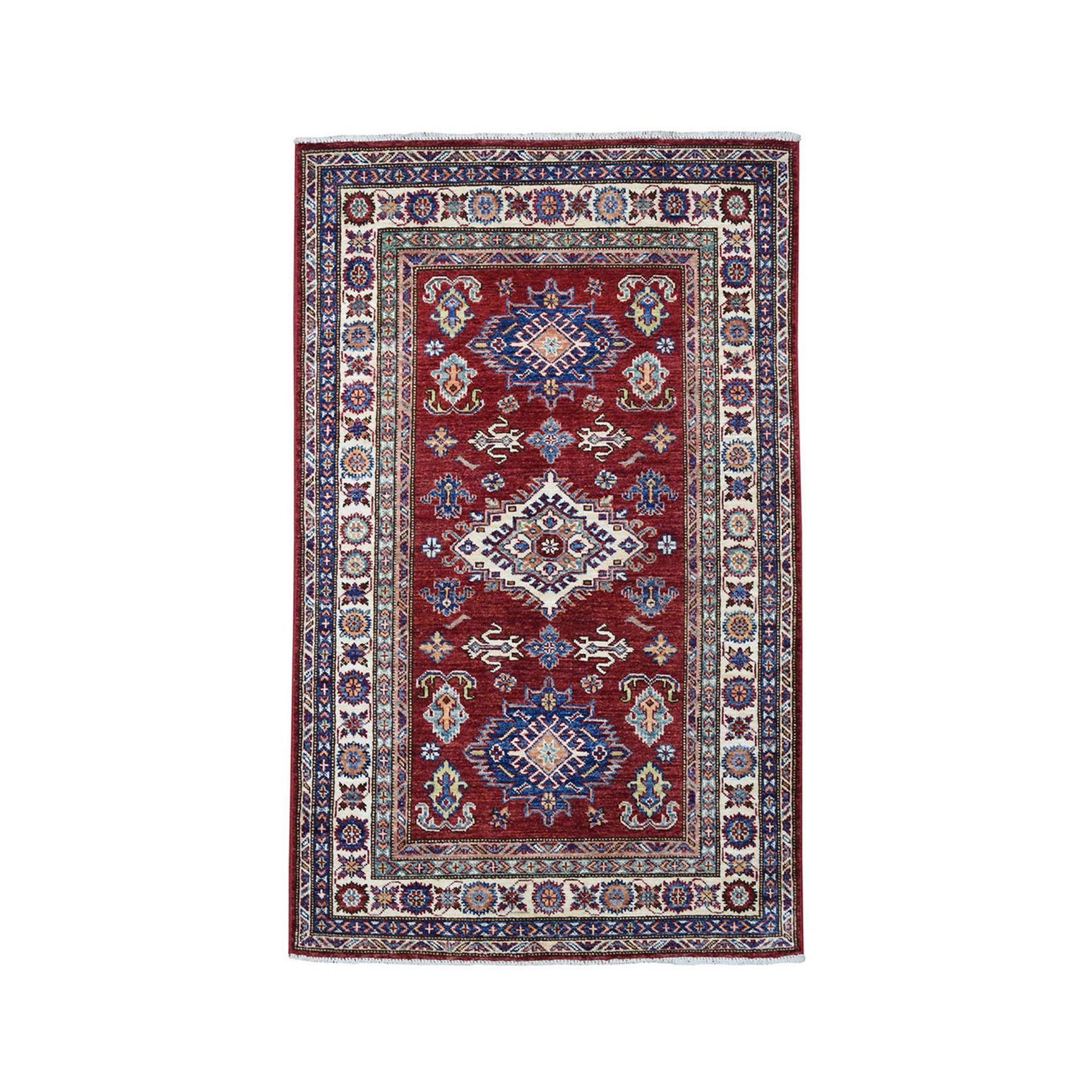 "3'3""X5'1"" Red Super Kazak Pure Wool Geometric Design Hand-Knotted Oriental Rug moae0980"