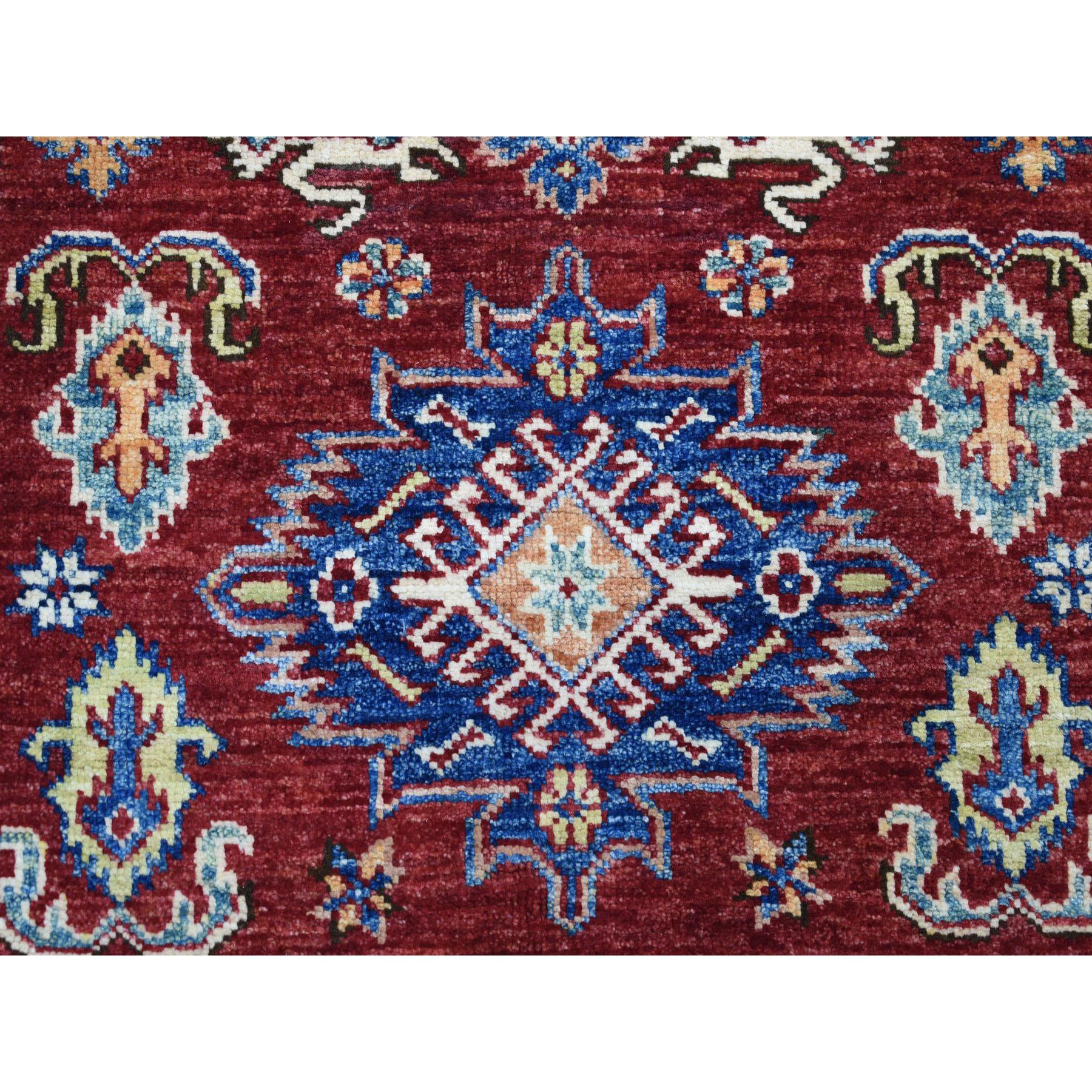 3-3 x5-1  Red Super Kazak Pure Wool Geometric Design Hand-Knotted Oriental Rug